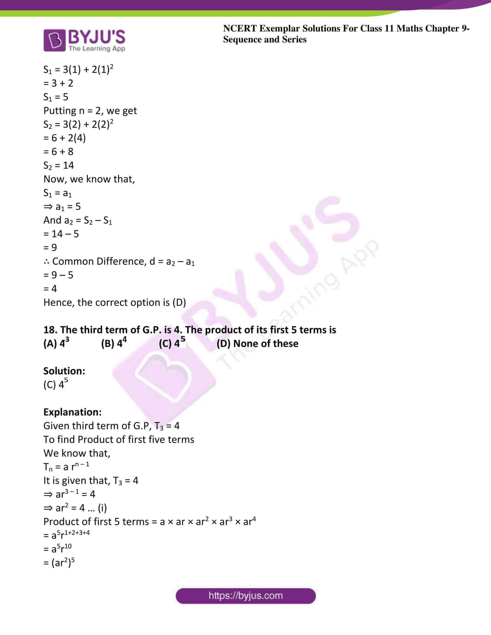 ncert exemplar sol class 11 maths chpt 9 sequence 21