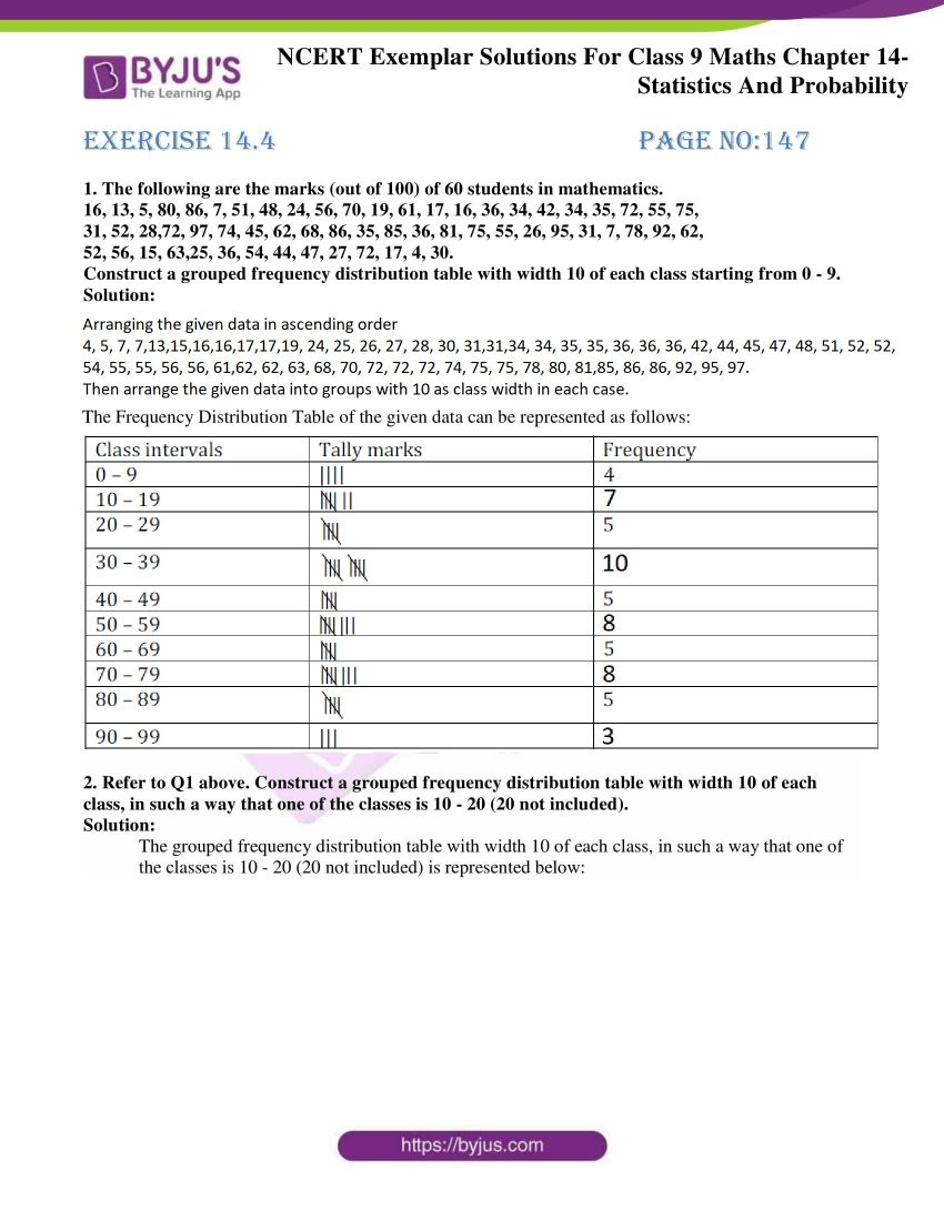NCERT Exemplar Class 9 Maths chapter 14
