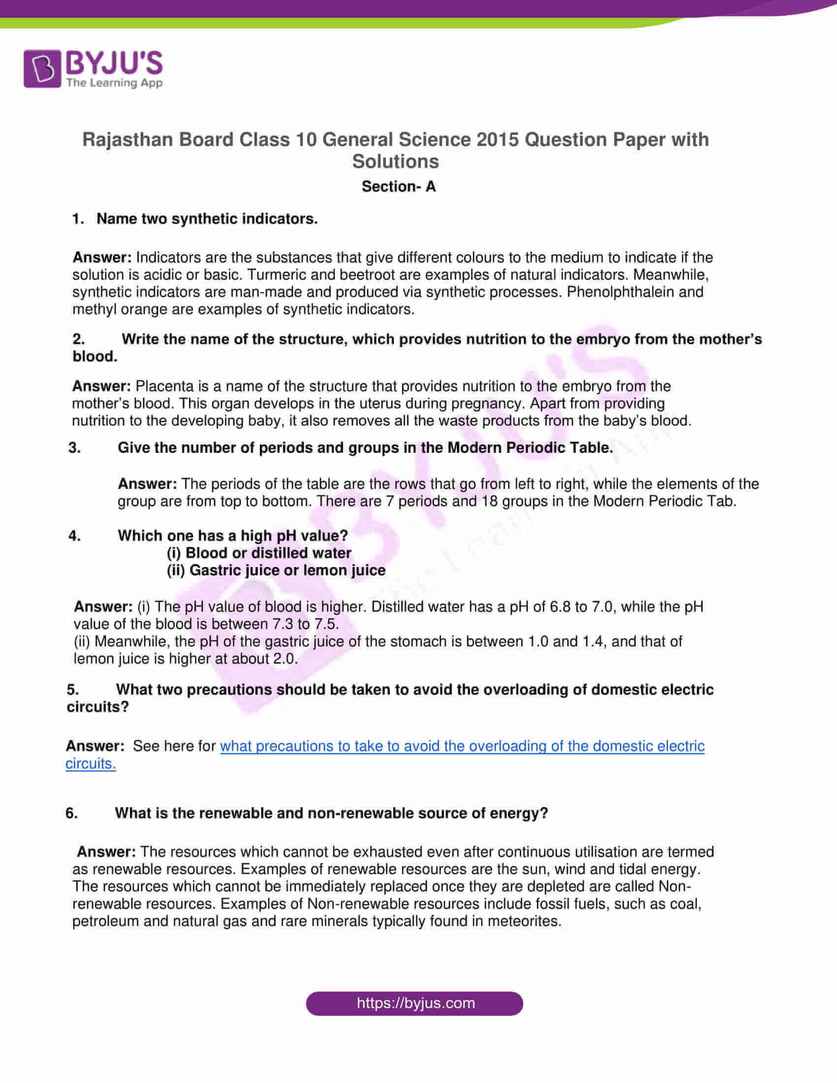 rajasthan board class 10 general science 2015 solutions 01