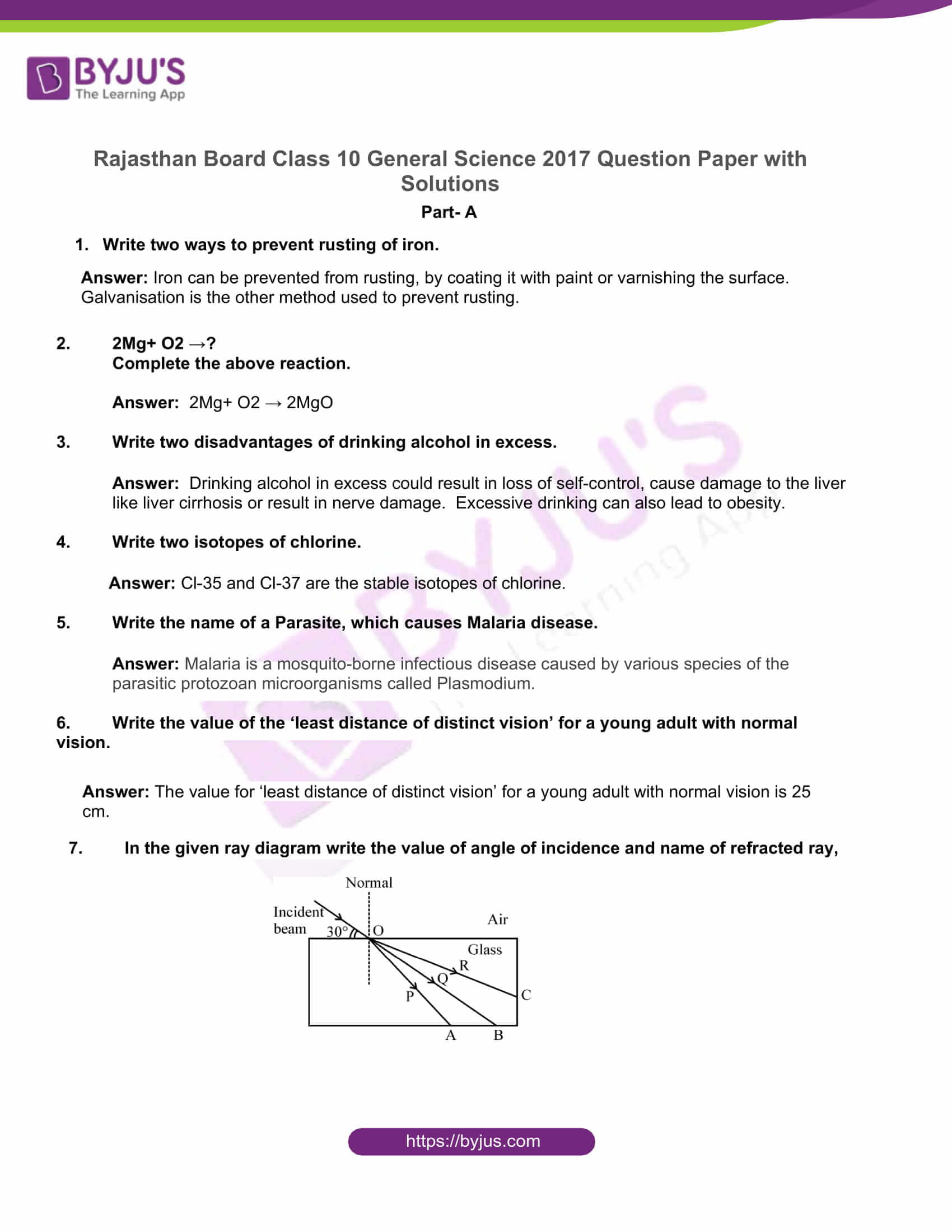 rajasthan board class 10 general science 2017 solutions 01