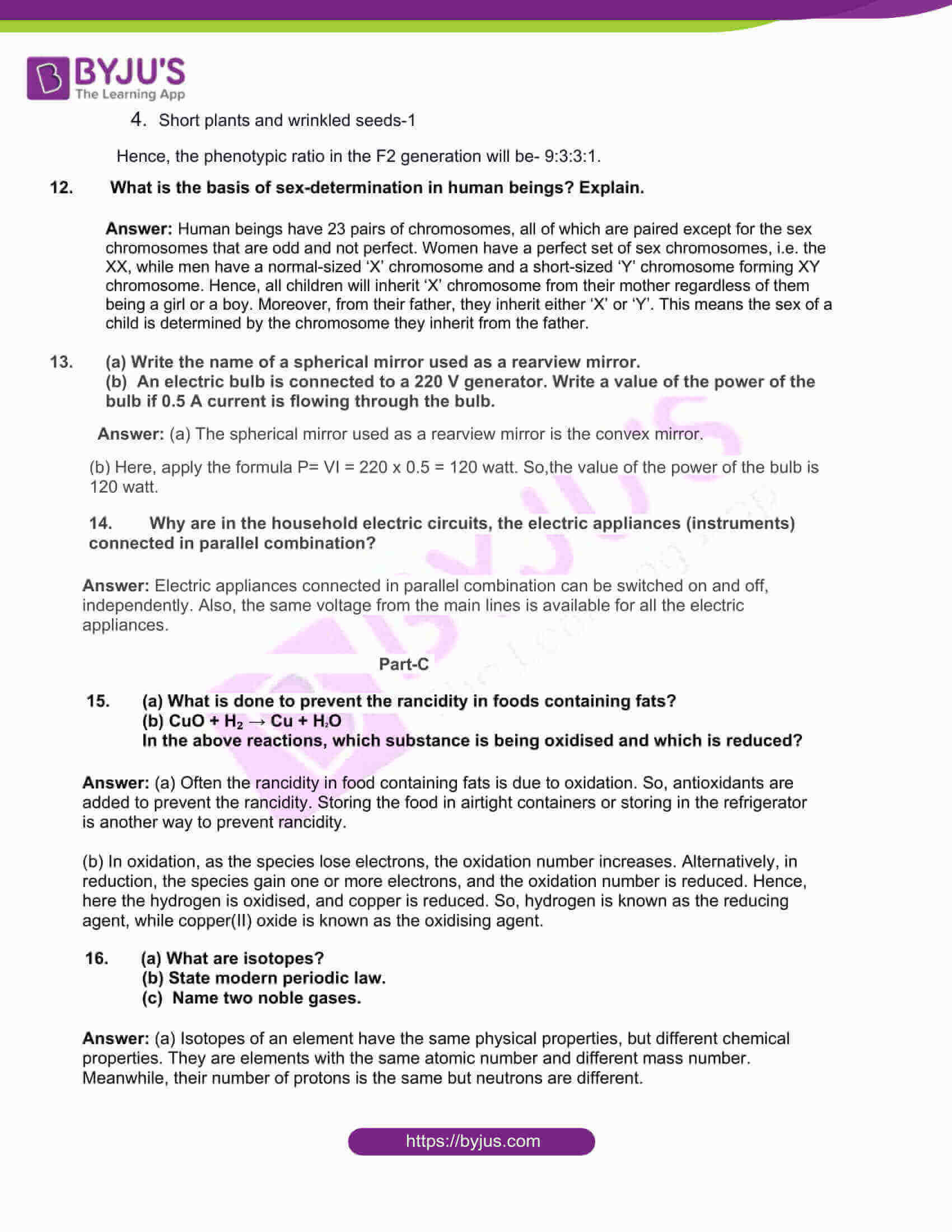 rajasthan board class 10 general science 2017 solutions 03