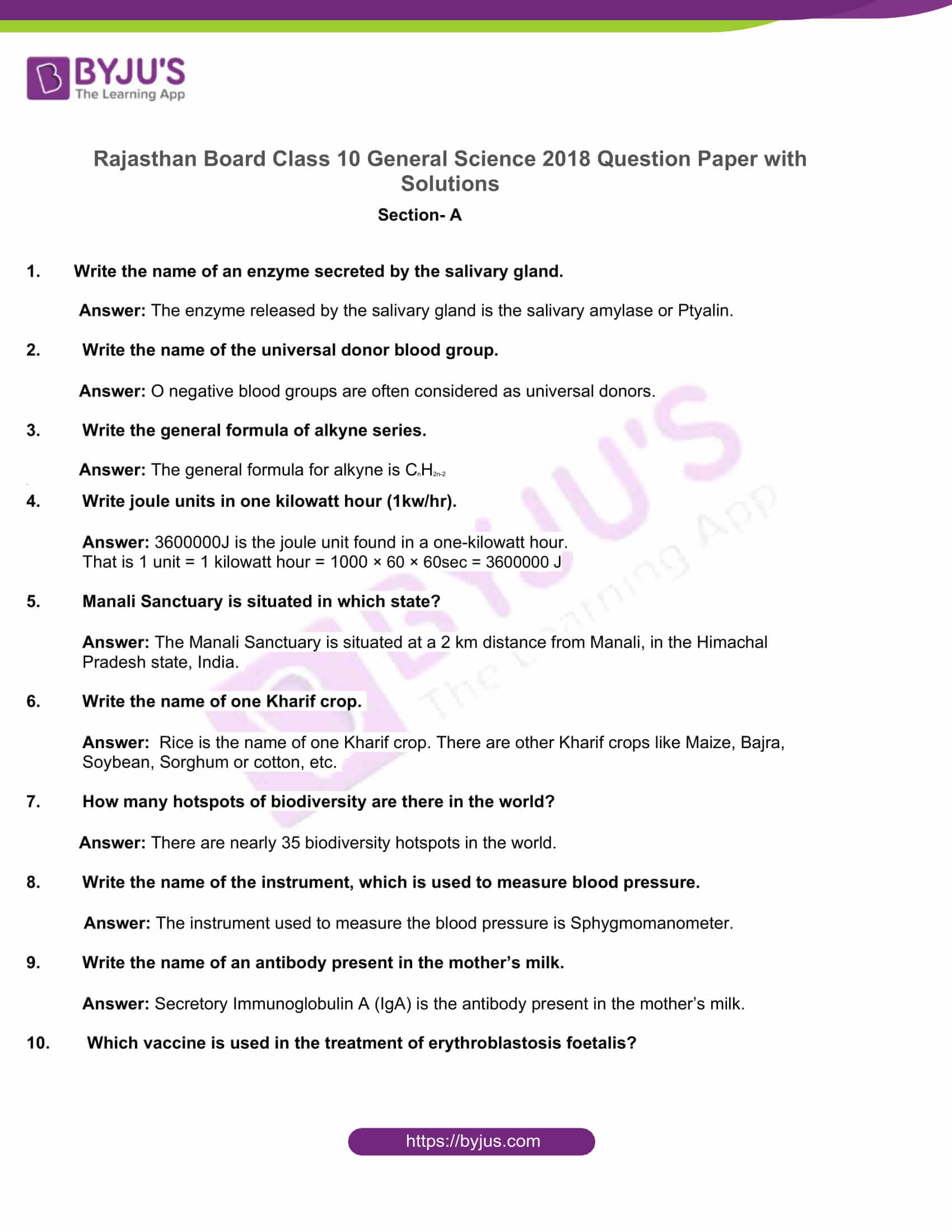 rajasthan board class 10 general science 2018 solutions 1