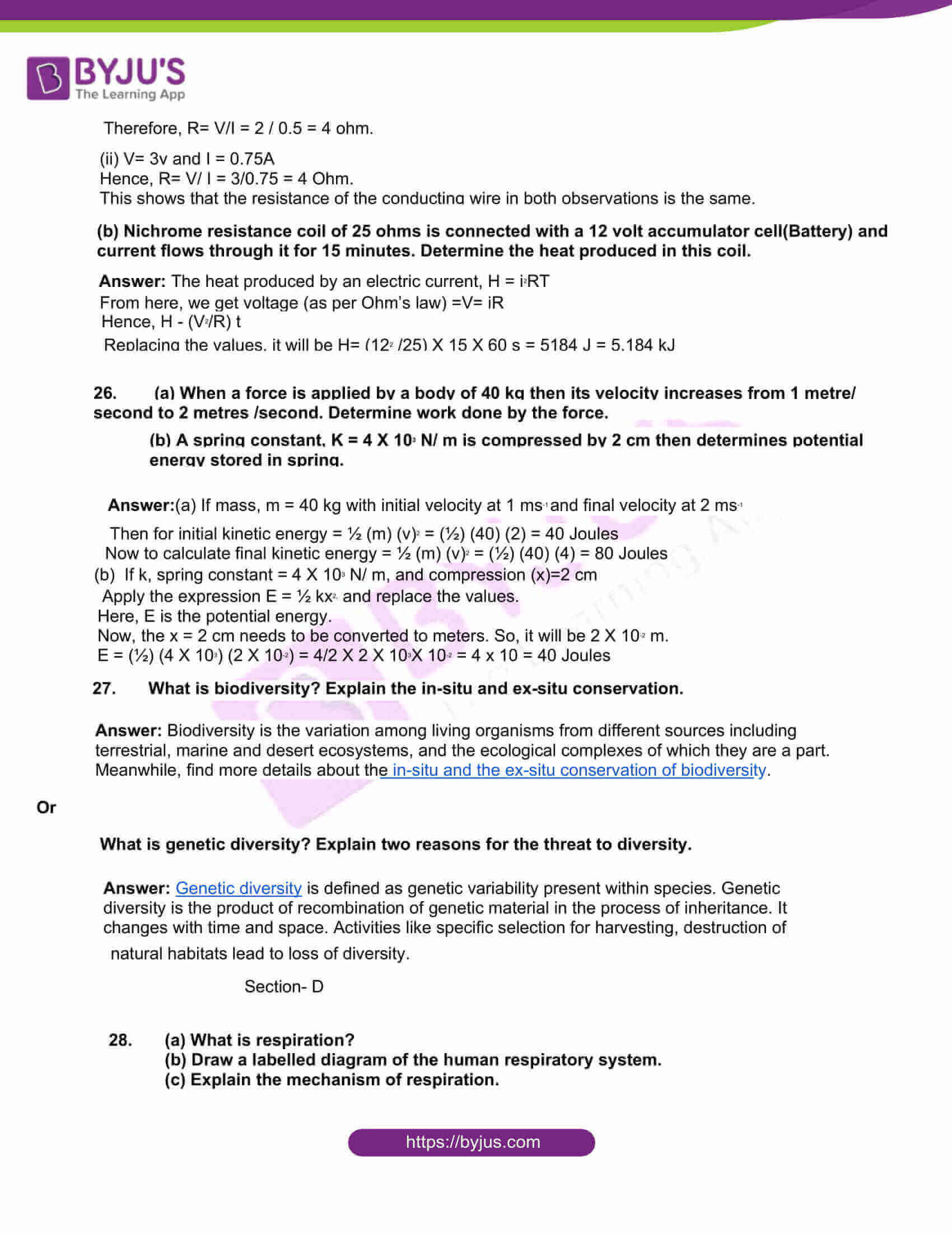 rajasthan board class 10 general science 2018 solutions 6