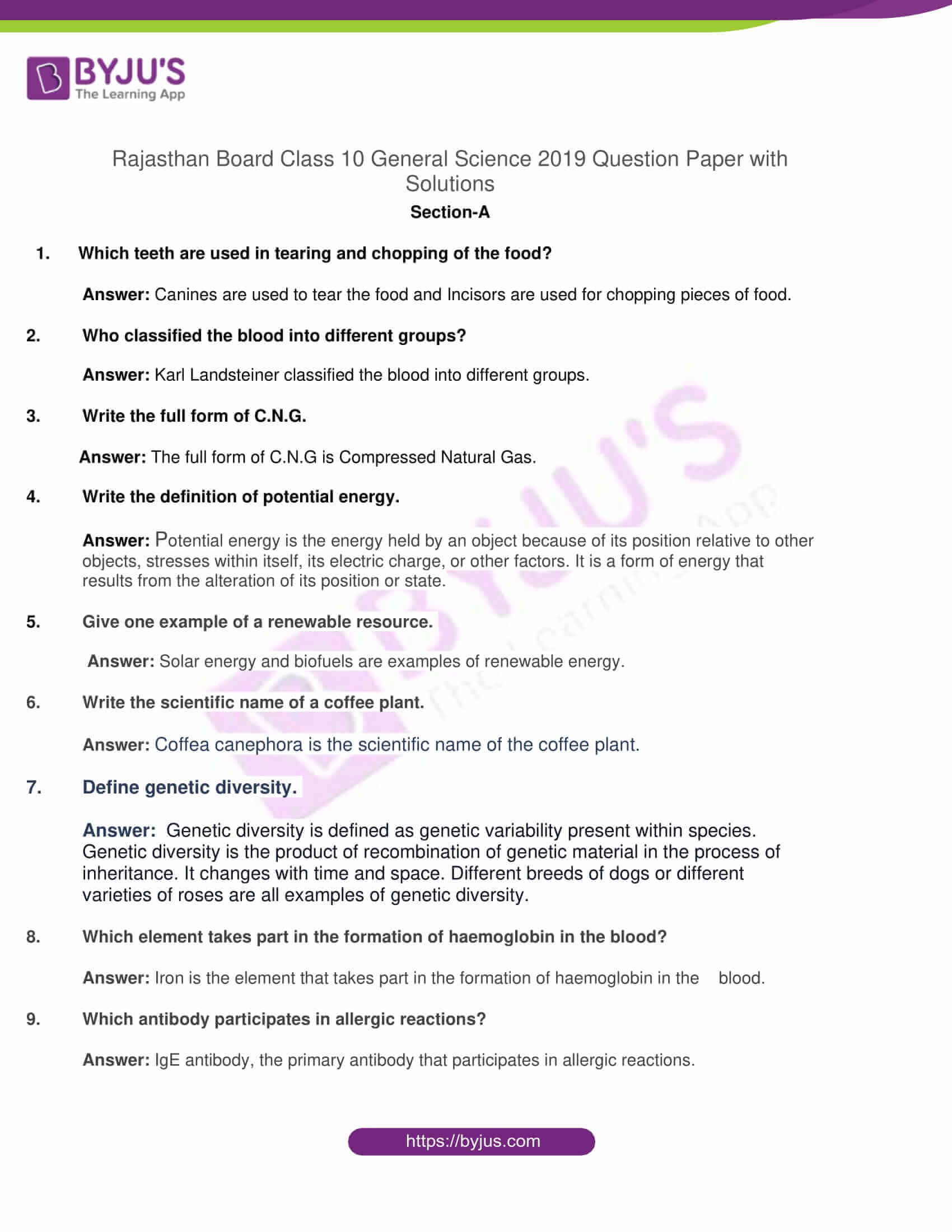 rajasthan board class 10 general science 2019 solutions 01