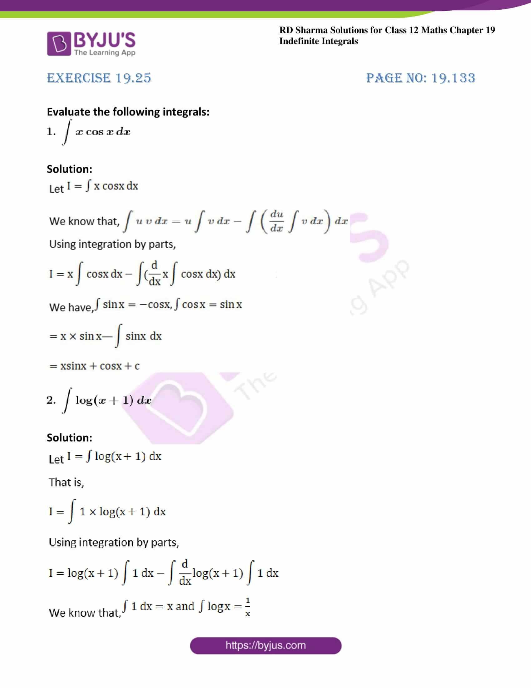 rd sharma class 12 maths solutions chapter 19 ex 25 1