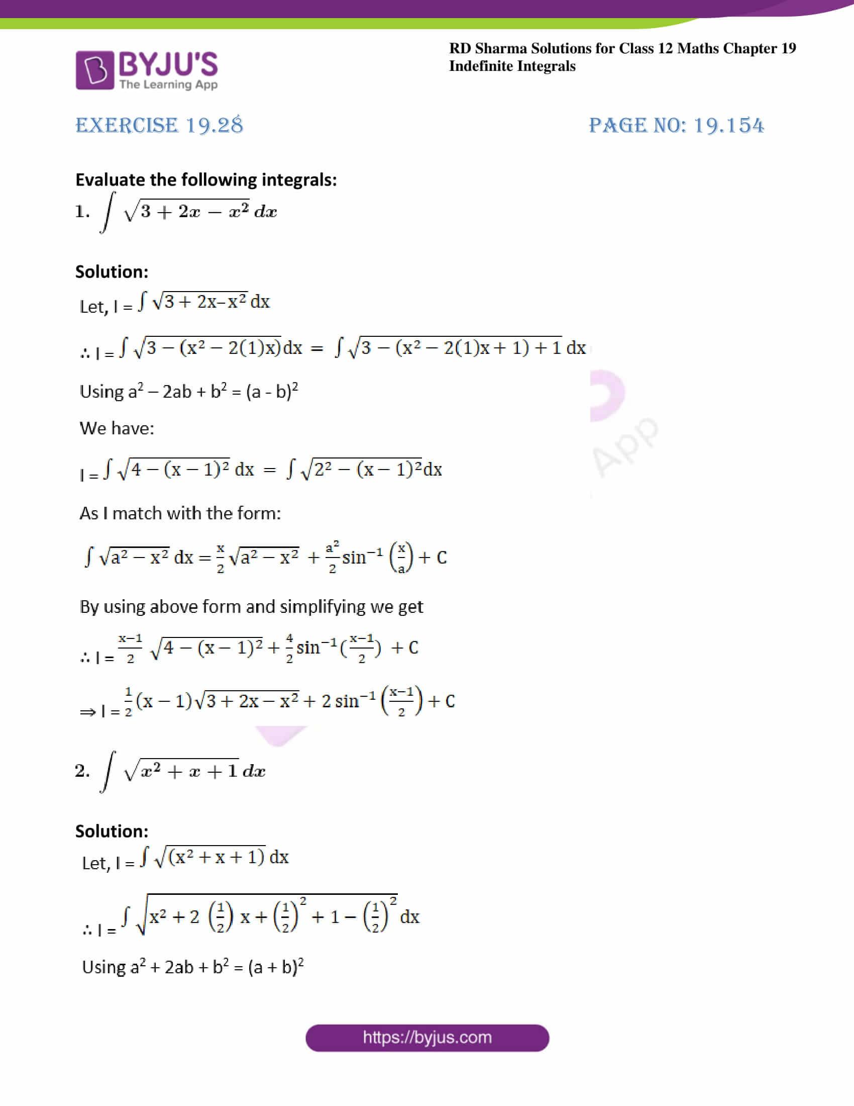 rd sharma class 12 maths solutions chapter 19 ex 28 1