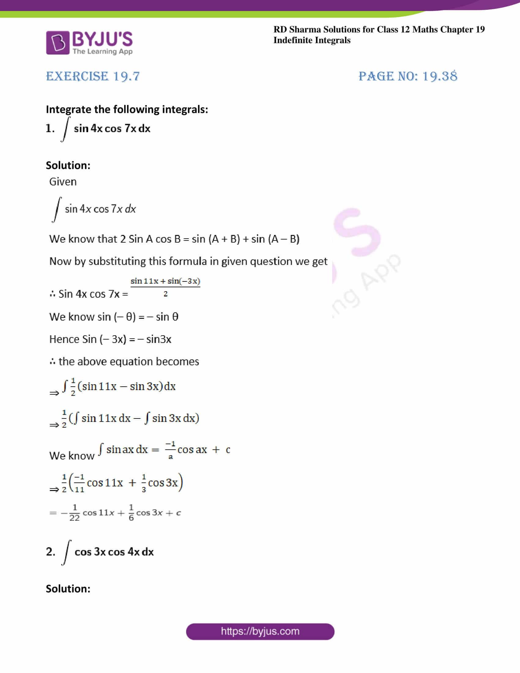 rd sharma class 12 maths solutions chapter 19 ex 7 1