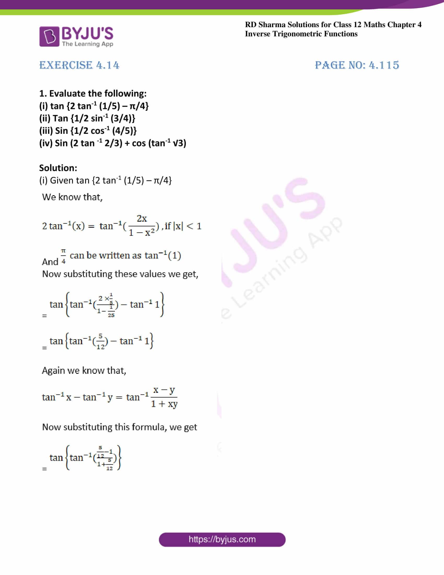 rd sharma class 12 maths solutions chapter 4 ex 14 01