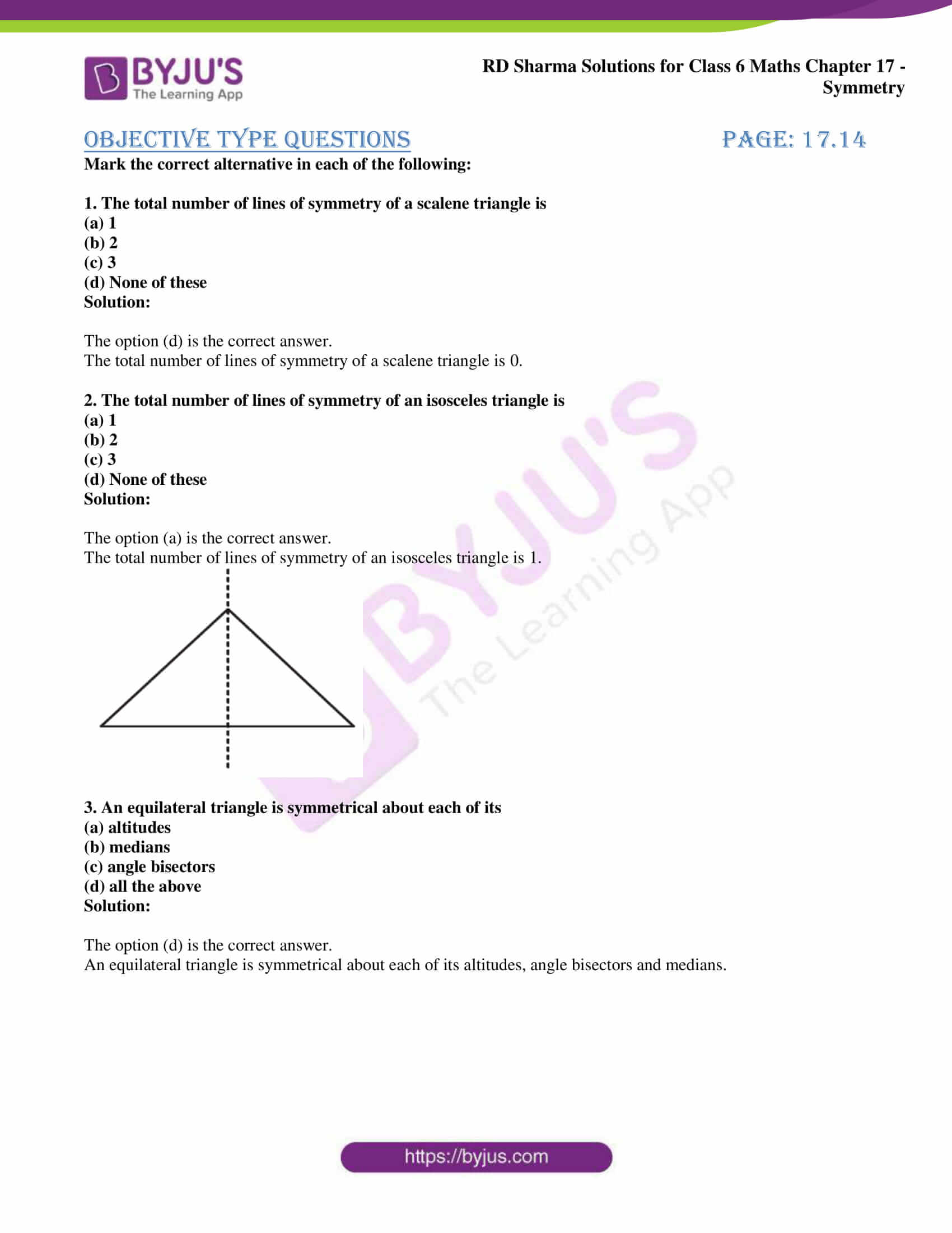 rd sharma solutions nov2020 class 6 maths chapter 17 exercise obj 1