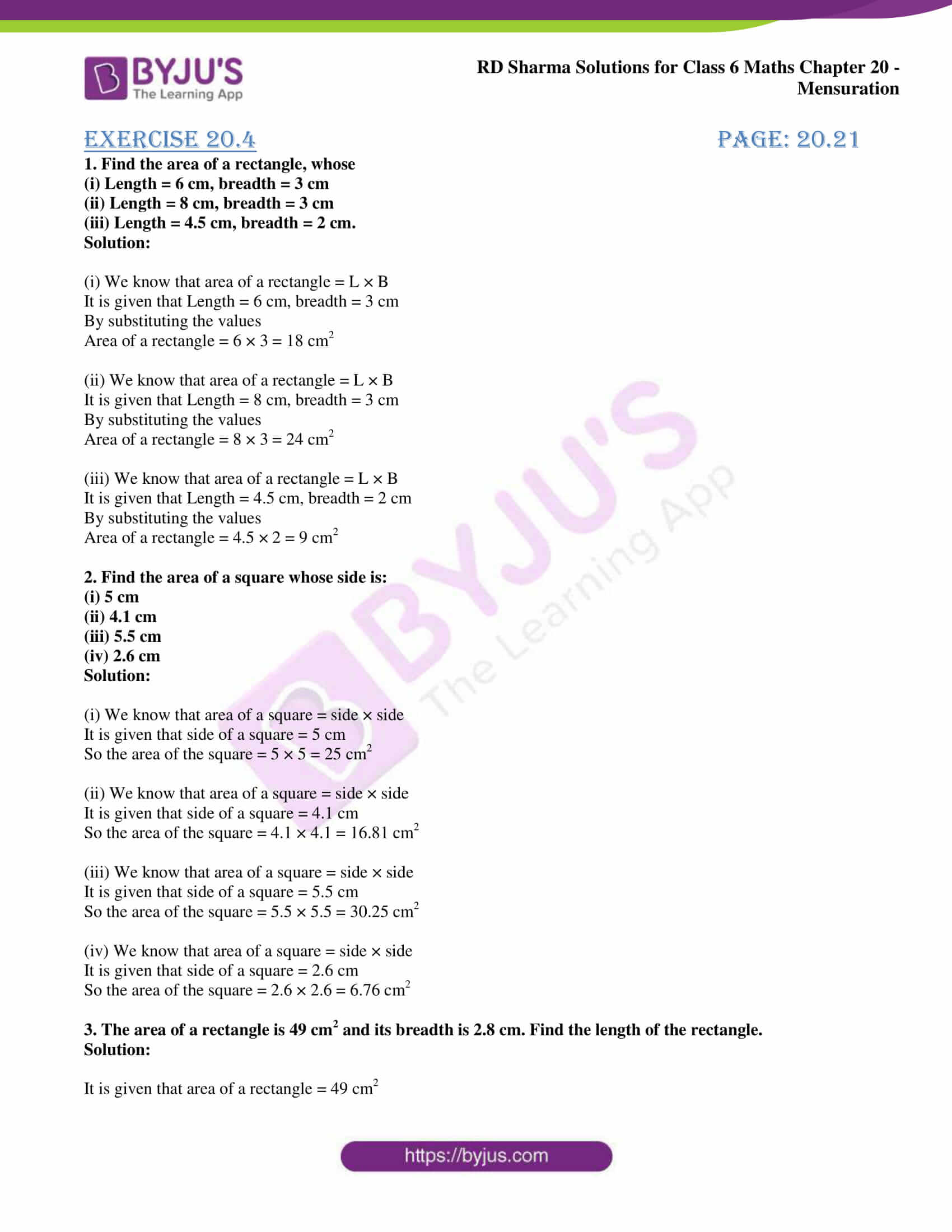 rd sharma solutions nov2020 class 6 maths chapter 20 exercise 4 1