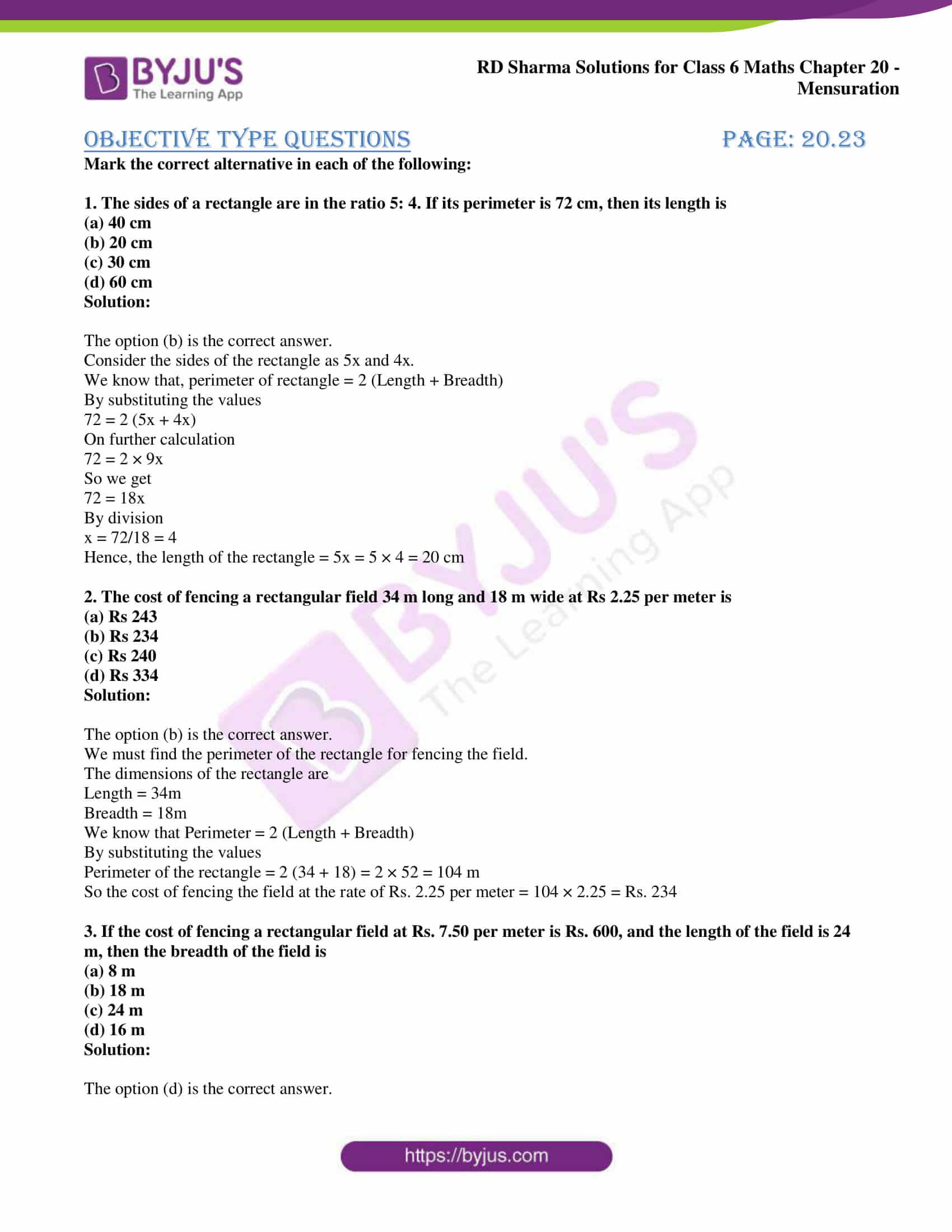 rd sharma solutions nov2020 class 6 maths chapter 20 exercise obj 1