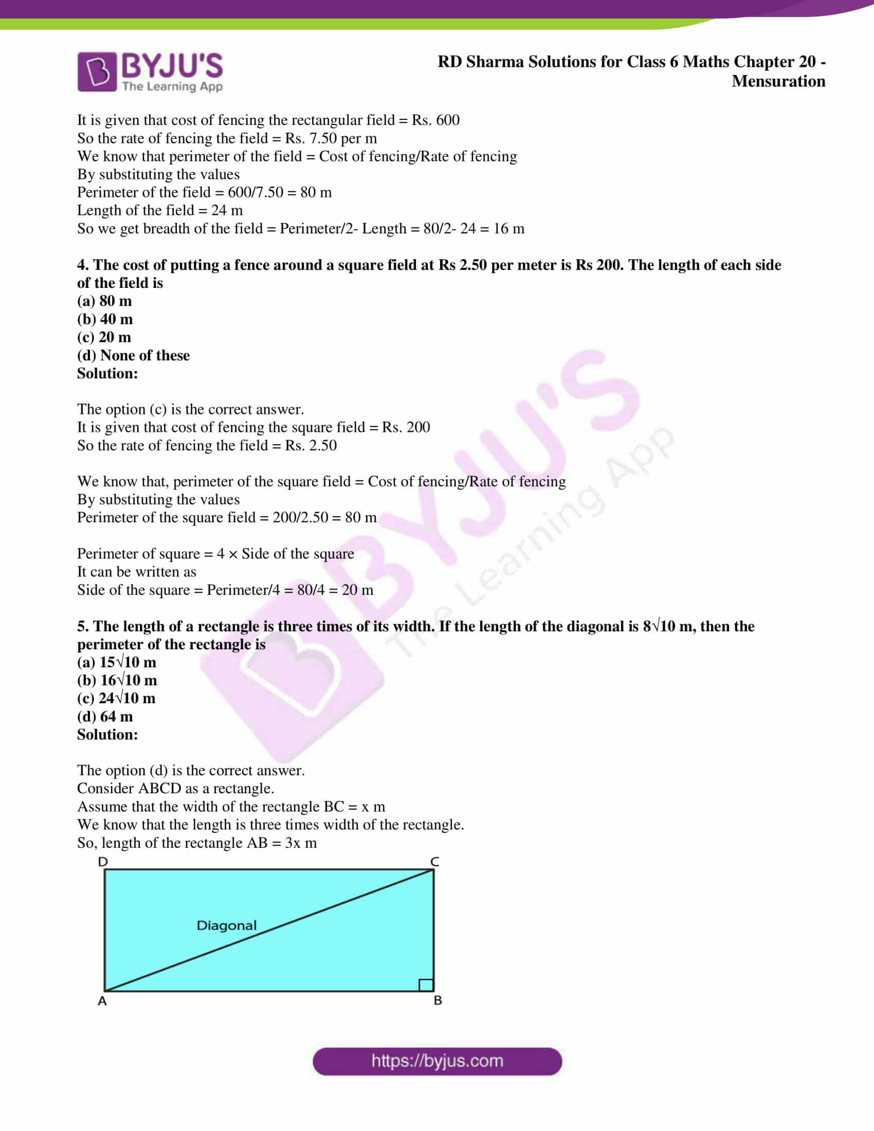 rd sharma solutions nov2020 class 6 maths chapter 20 exercise obj 2