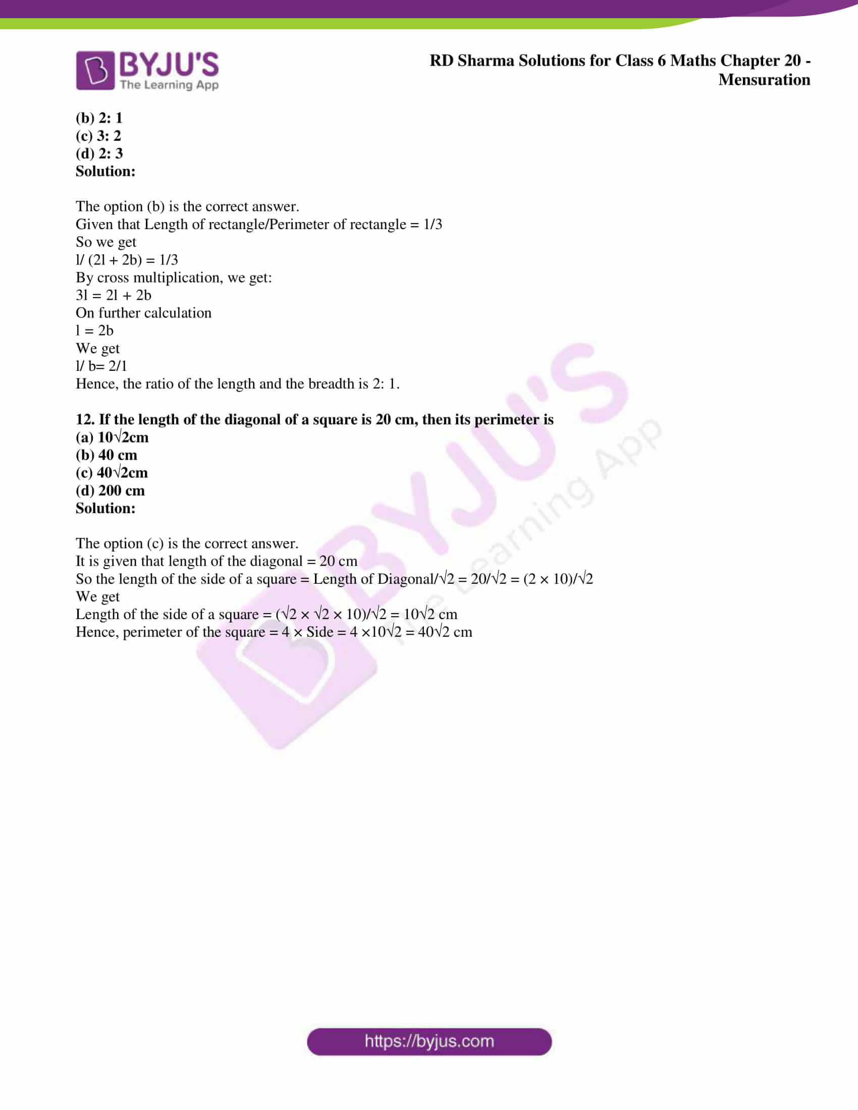 rd sharma solutions nov2020 class 6 maths chapter 20 exercise obj 6