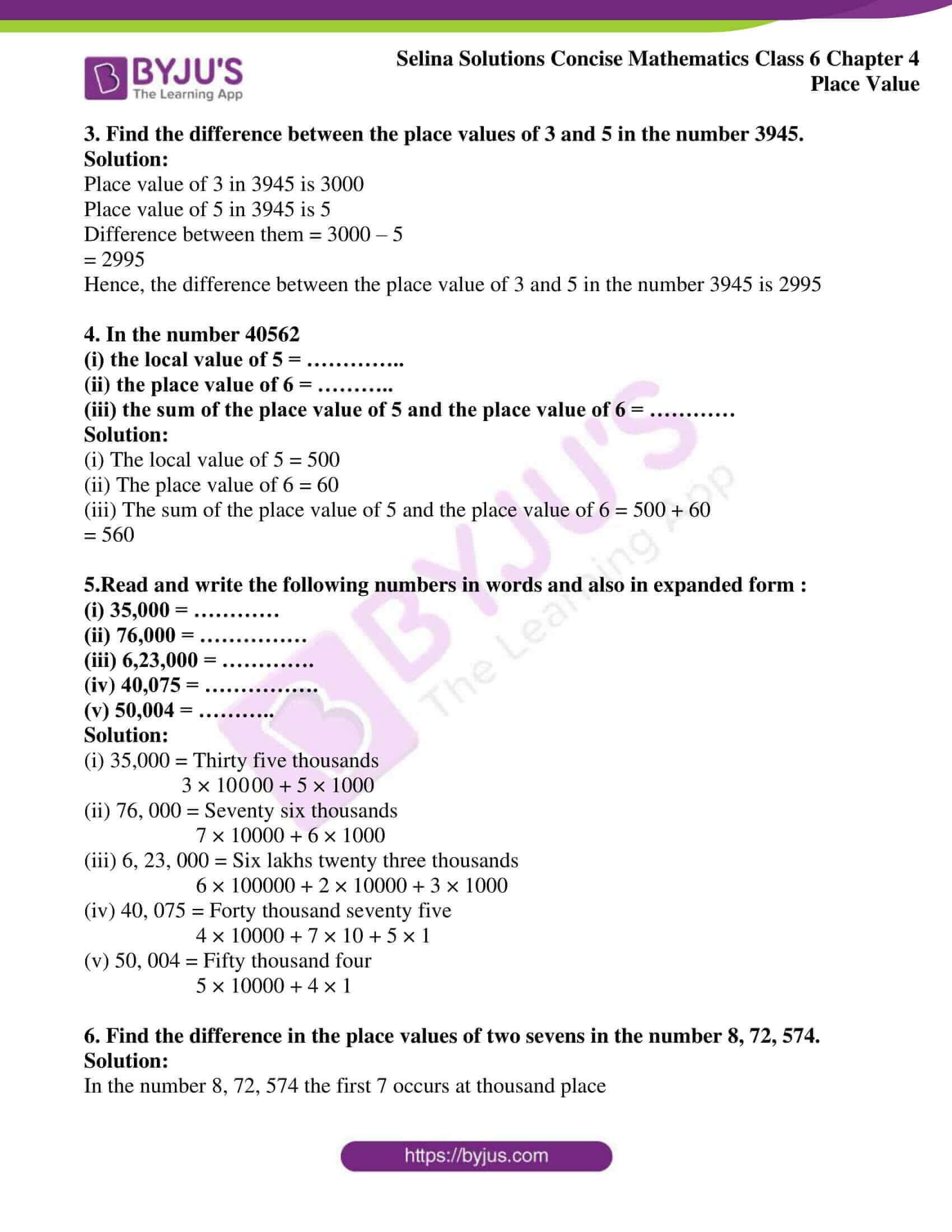 selina sol concise maths class 6 ch4 ex 4a 2