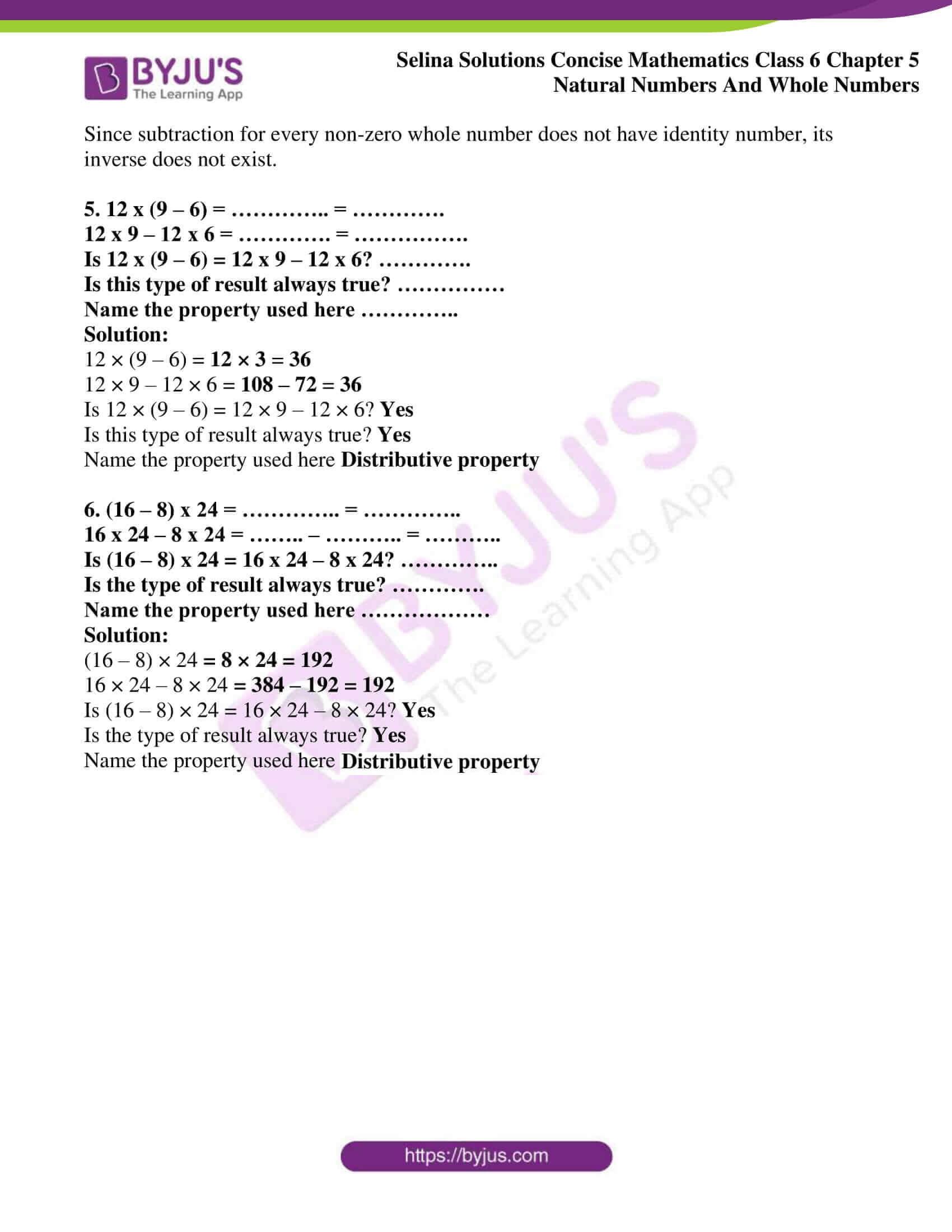 selina sol concise maths class 6 ch5 ex 5b 2