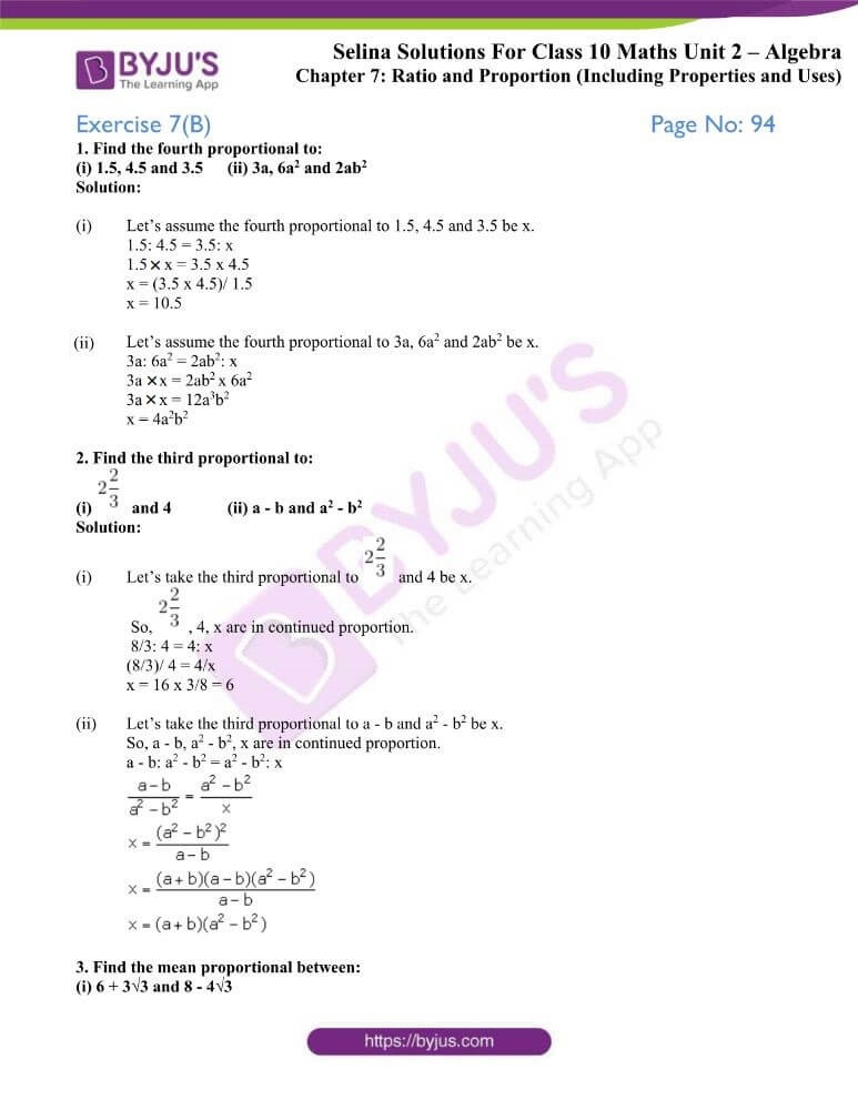 selina solutions concise maths class 10 chapter 7b