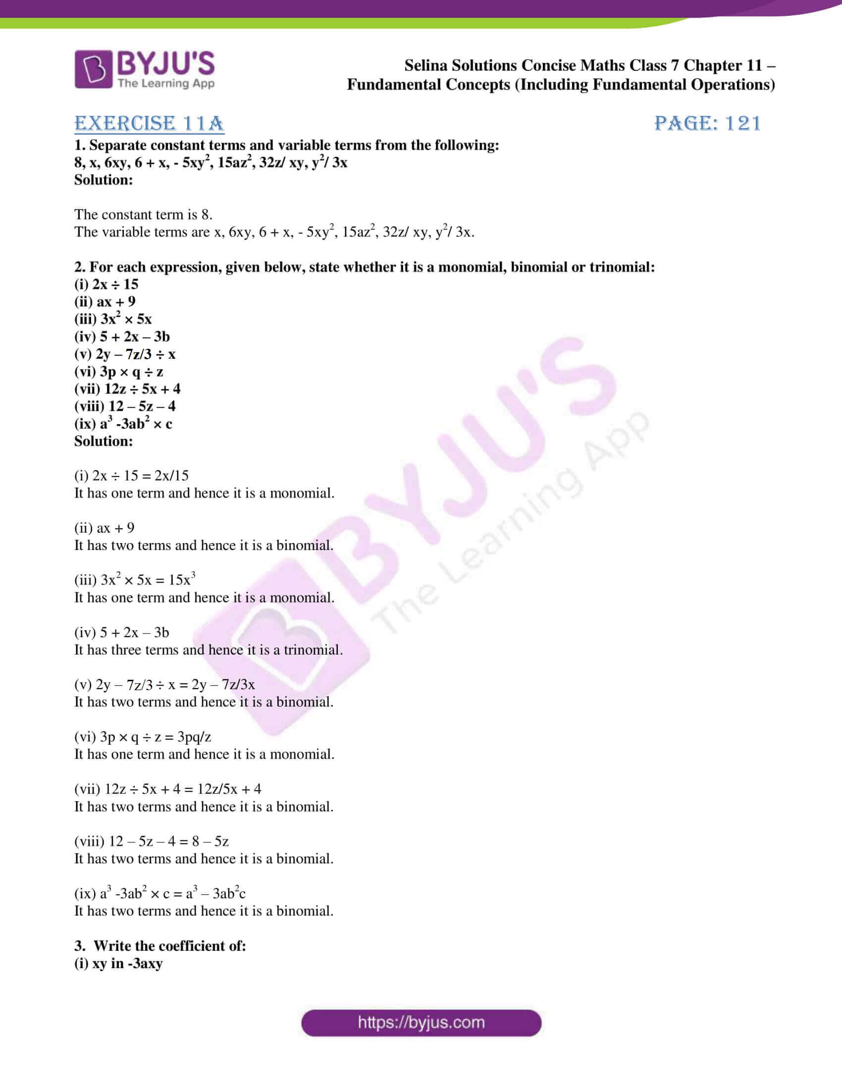 selina solution concise maths class 7 ch 11a 1