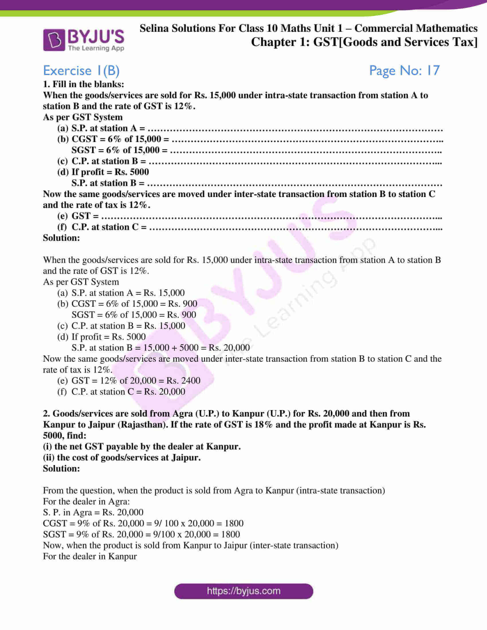 selina solution concise maths class 10 chapter 1 ex b 1