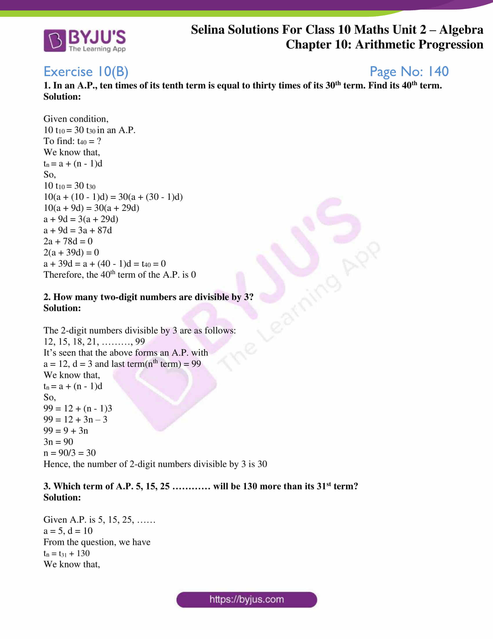 selina solution concise maths class 10 chapter 10 ex b 1