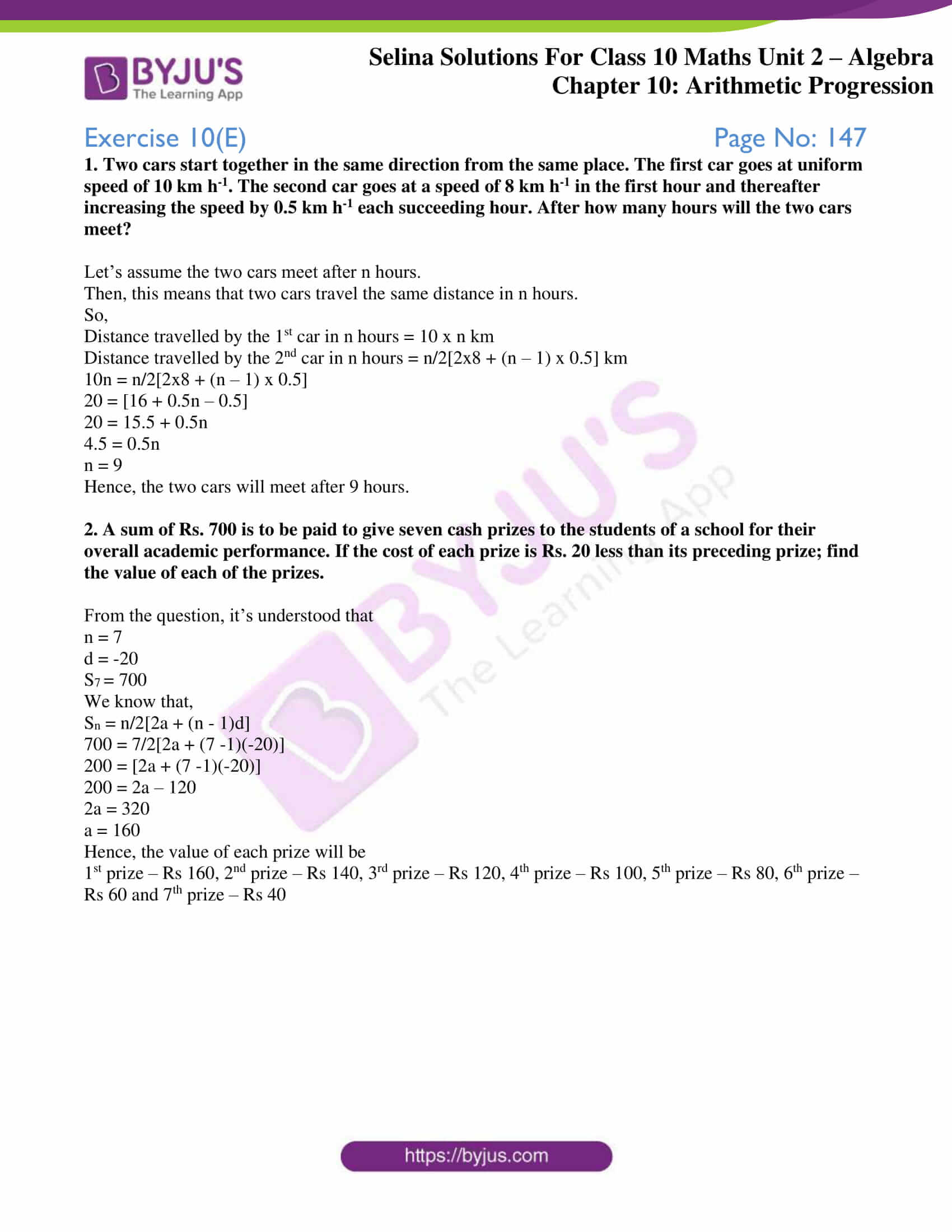 selina solution concise maths class 10 chapter 10 ex e 1