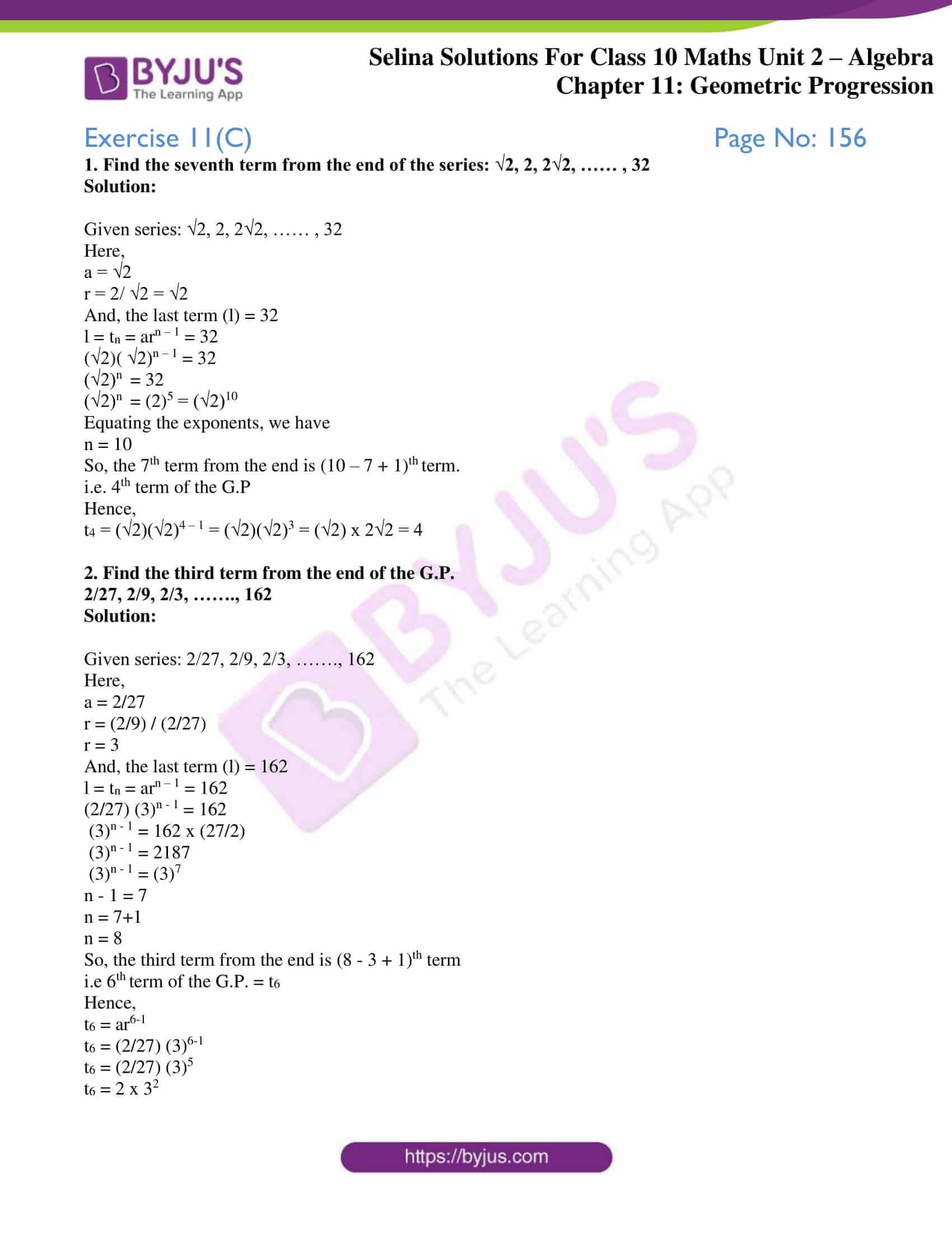 selina solution concise maths class 10 chapter 11 ex c 1