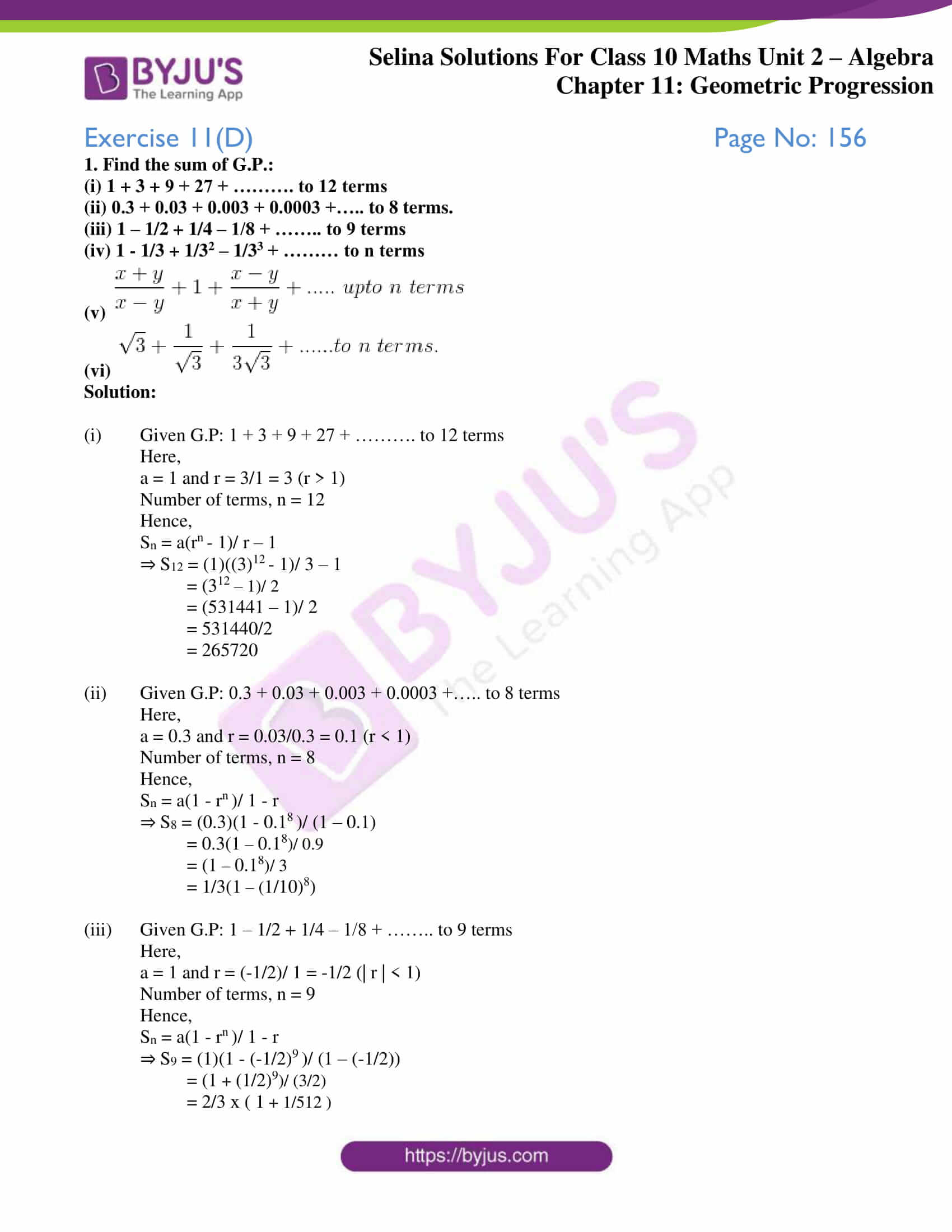 selina solution concise maths class 10 chapter 11 ex d 1