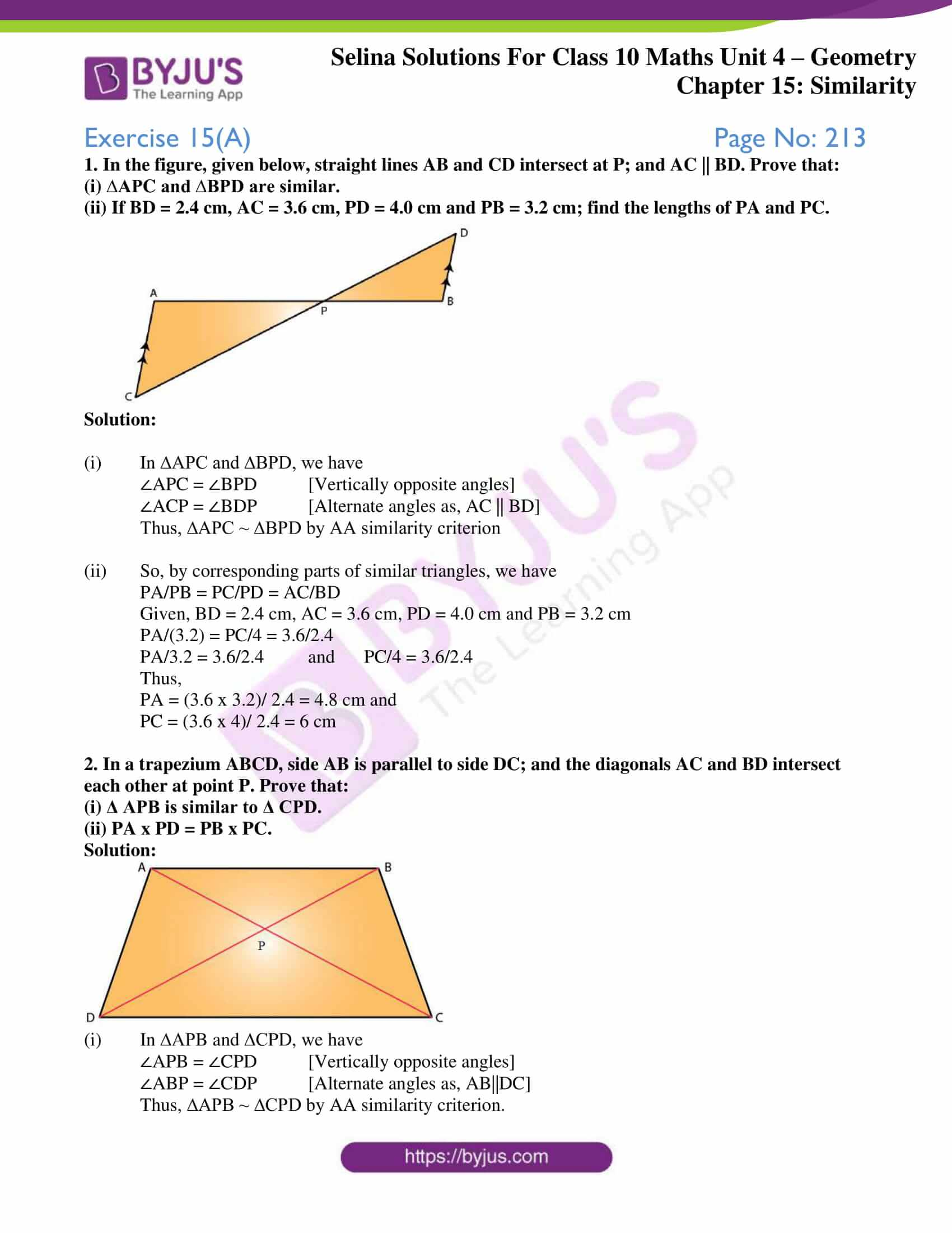 selina solution concise maths class 10 chapter 15 ex a 1