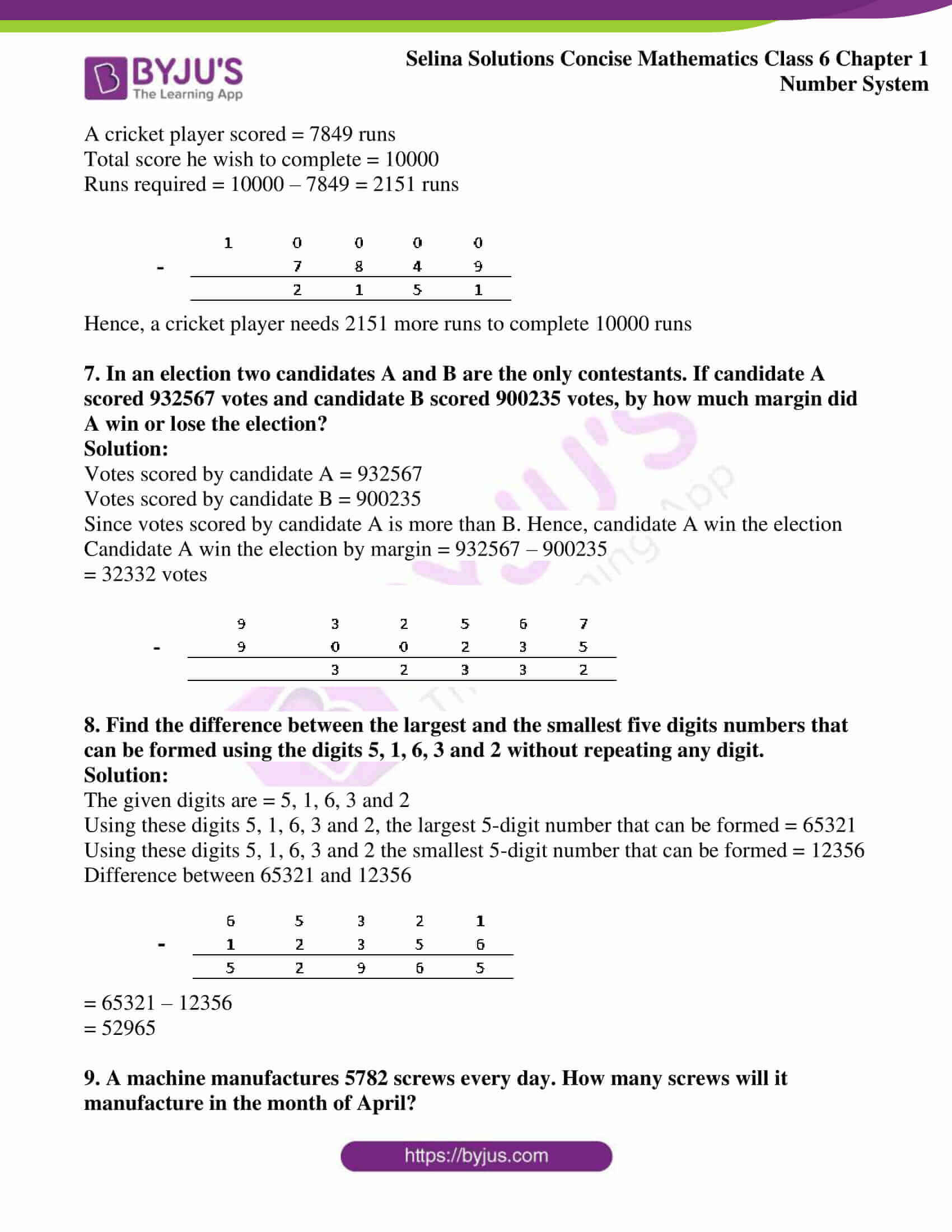 selina solution concise maths class 6 chapter 1 ex b 3