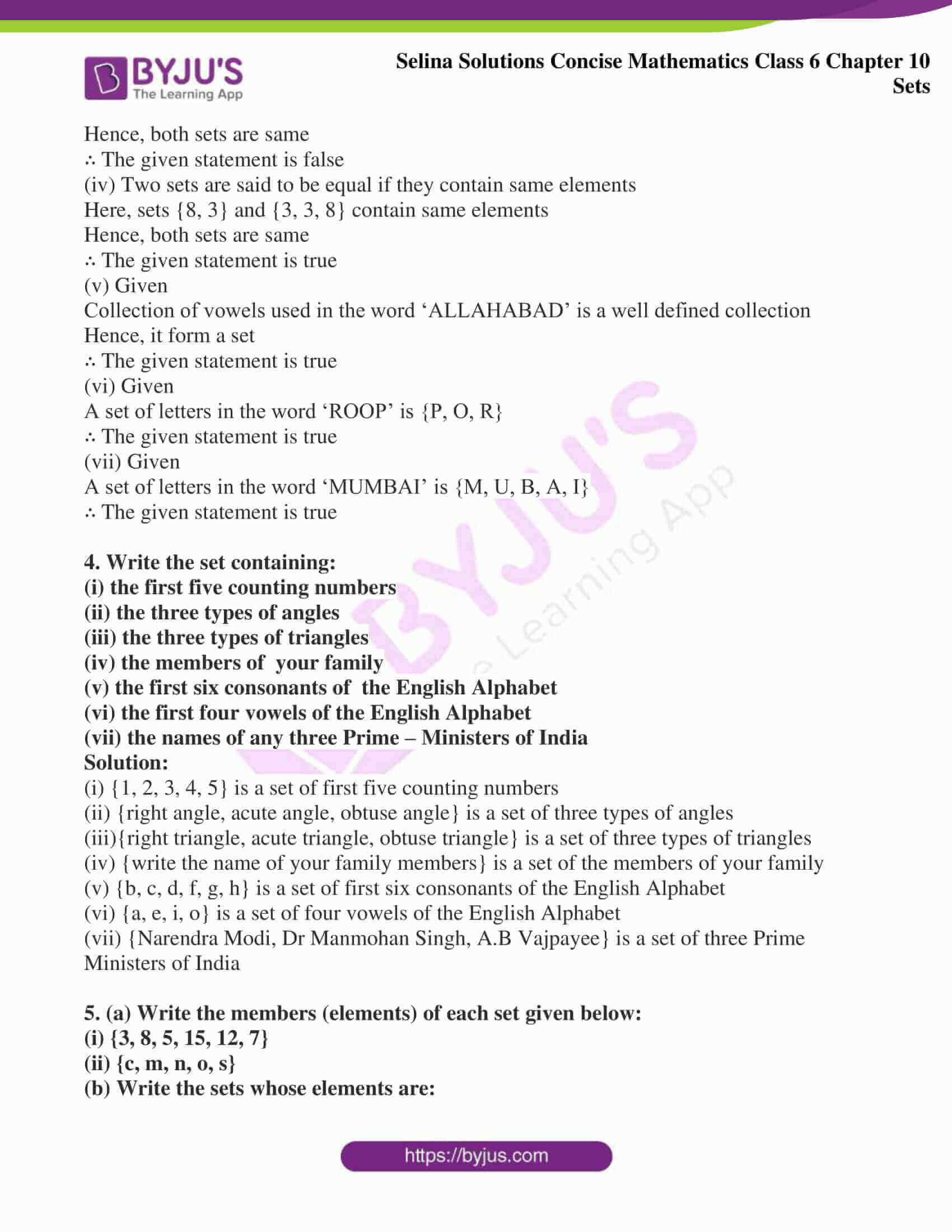selina solution concise maths class 6 chapter 10 ex b 3