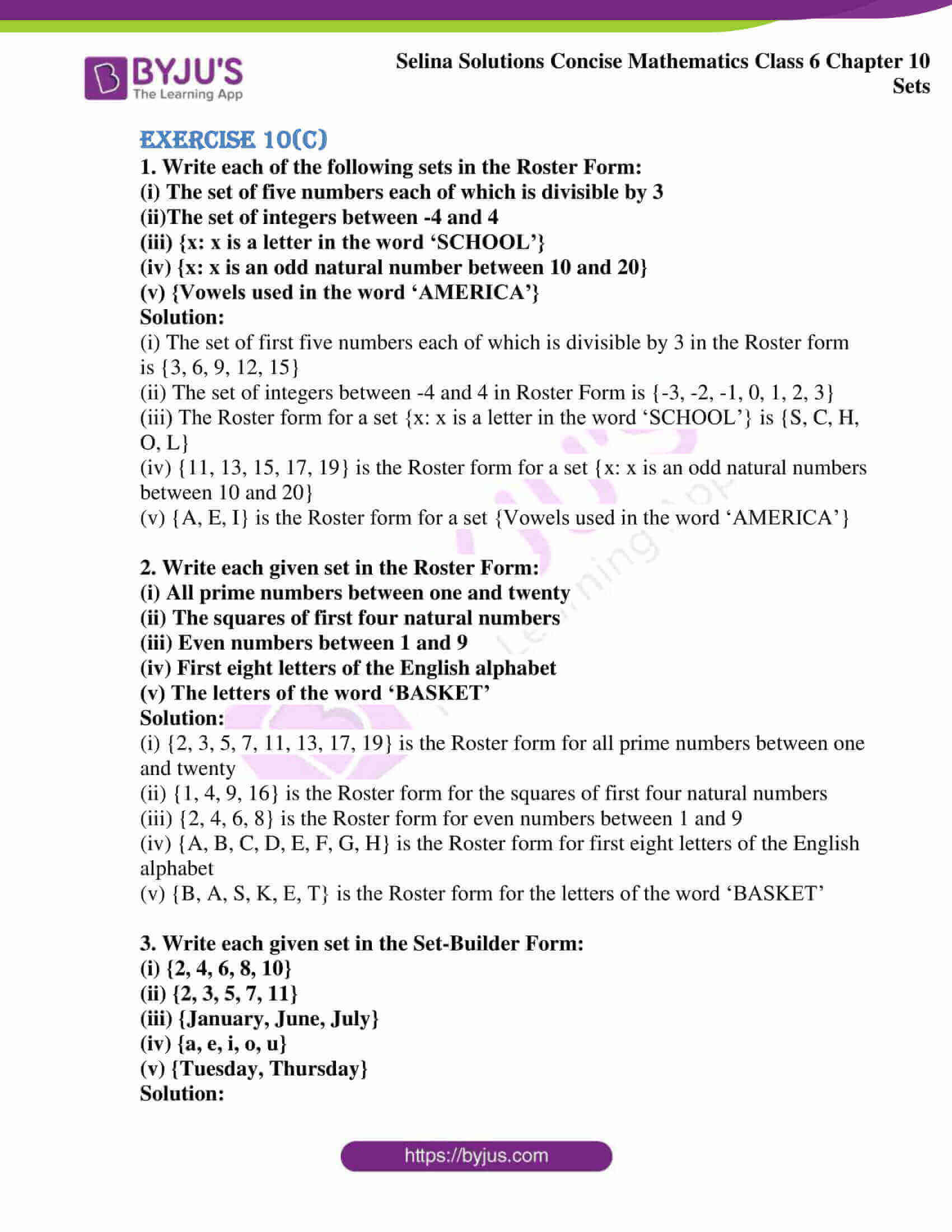 selina solution concise maths class 6 chapter 10 ex c 1
