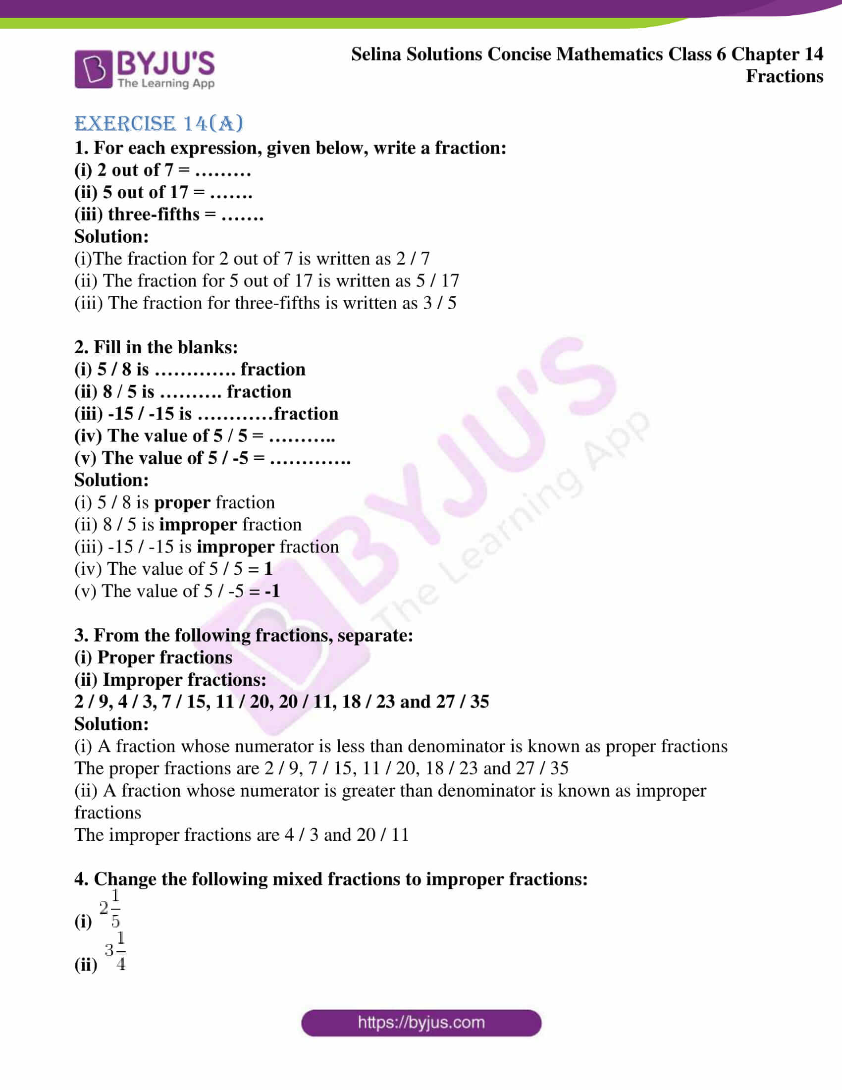 selina solution concise maths class 6 chapter 14 ex a 1
