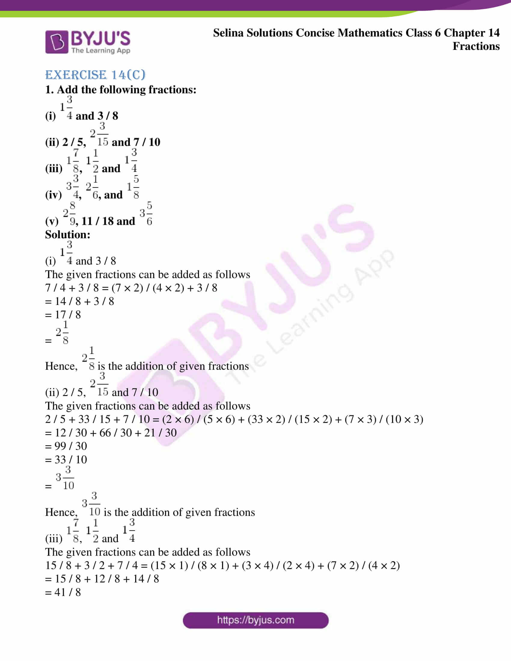selina solution concise maths class 6 chapter 14 ex c 1