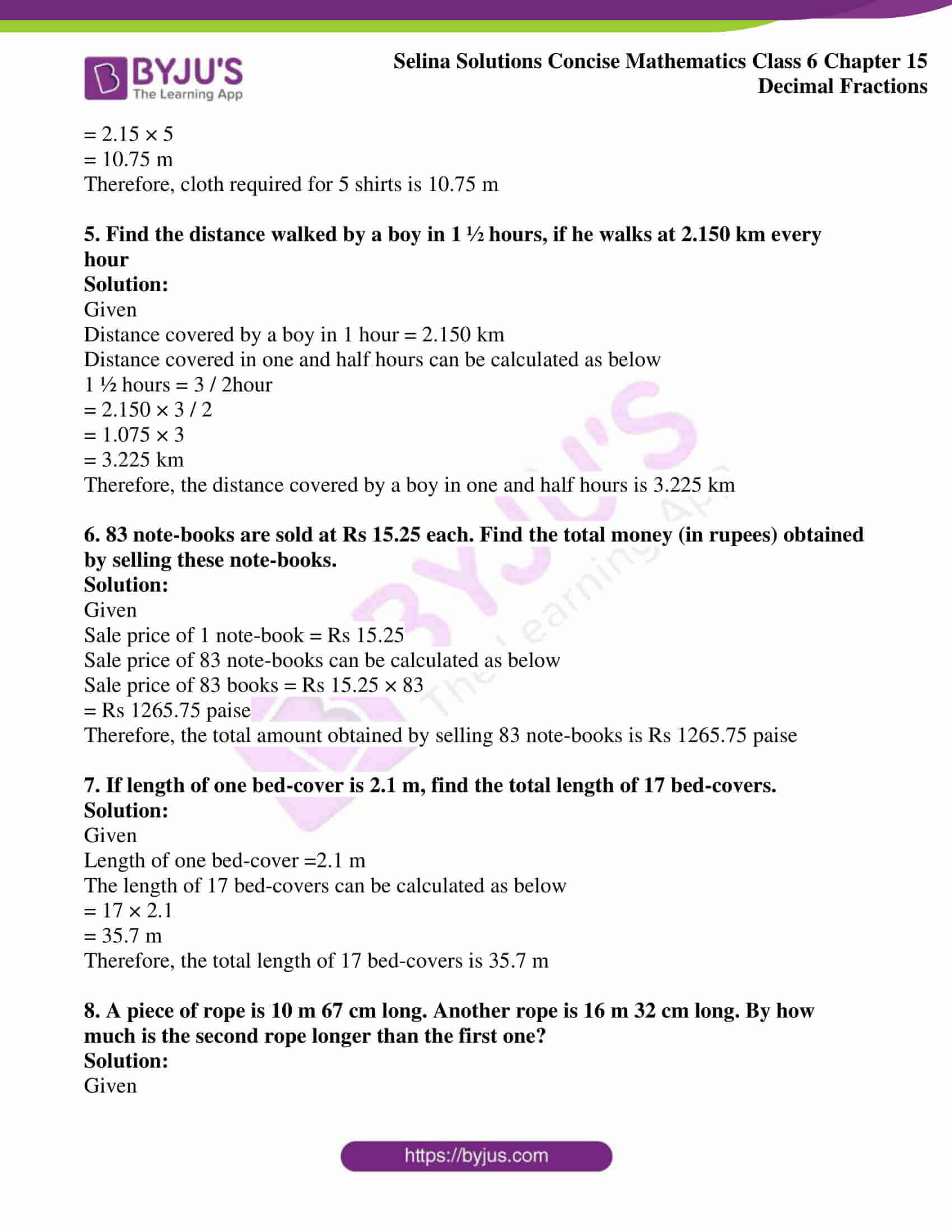 selina solution concise maths class 6 chapter 15 ex e 2