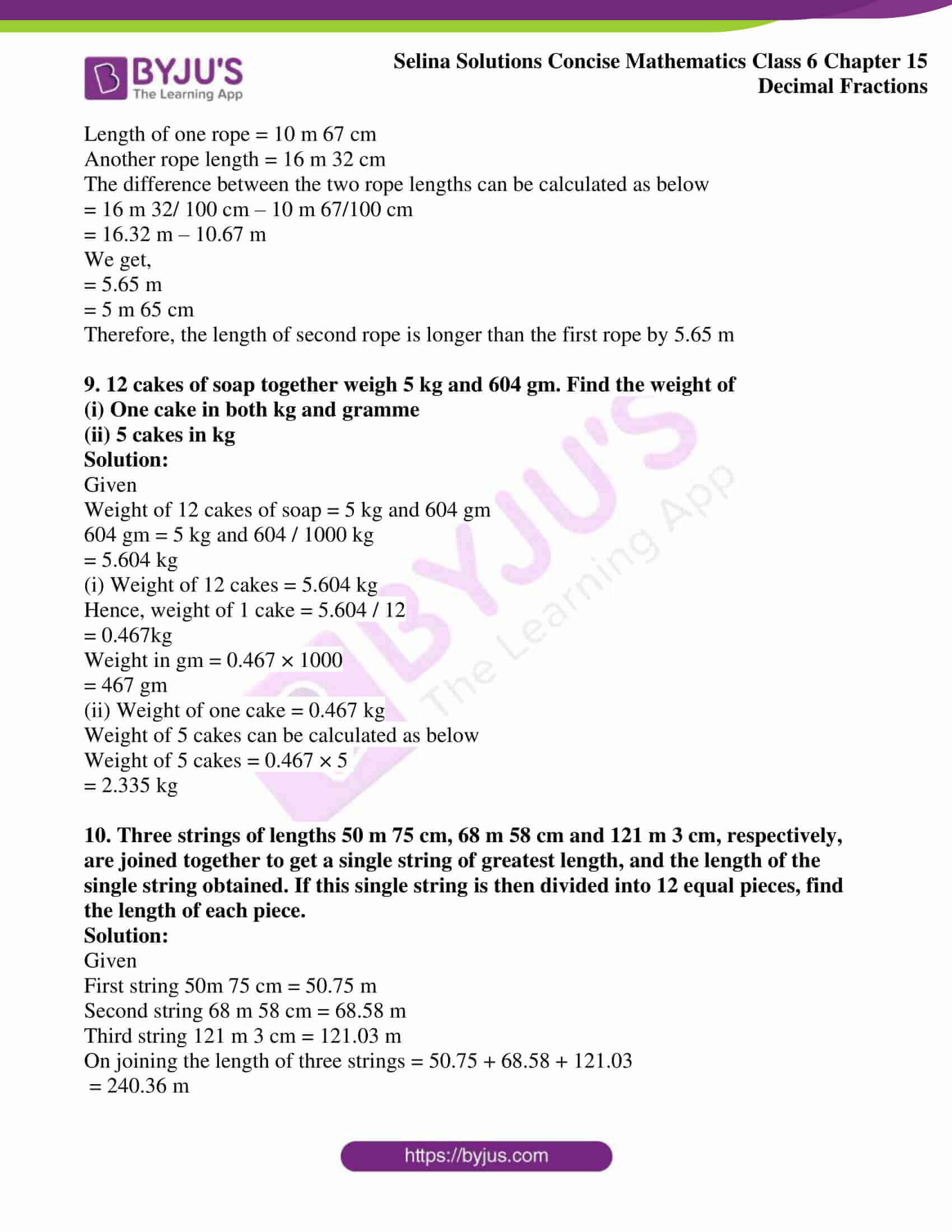 selina solution concise maths class 6 chapter 15 ex e 3