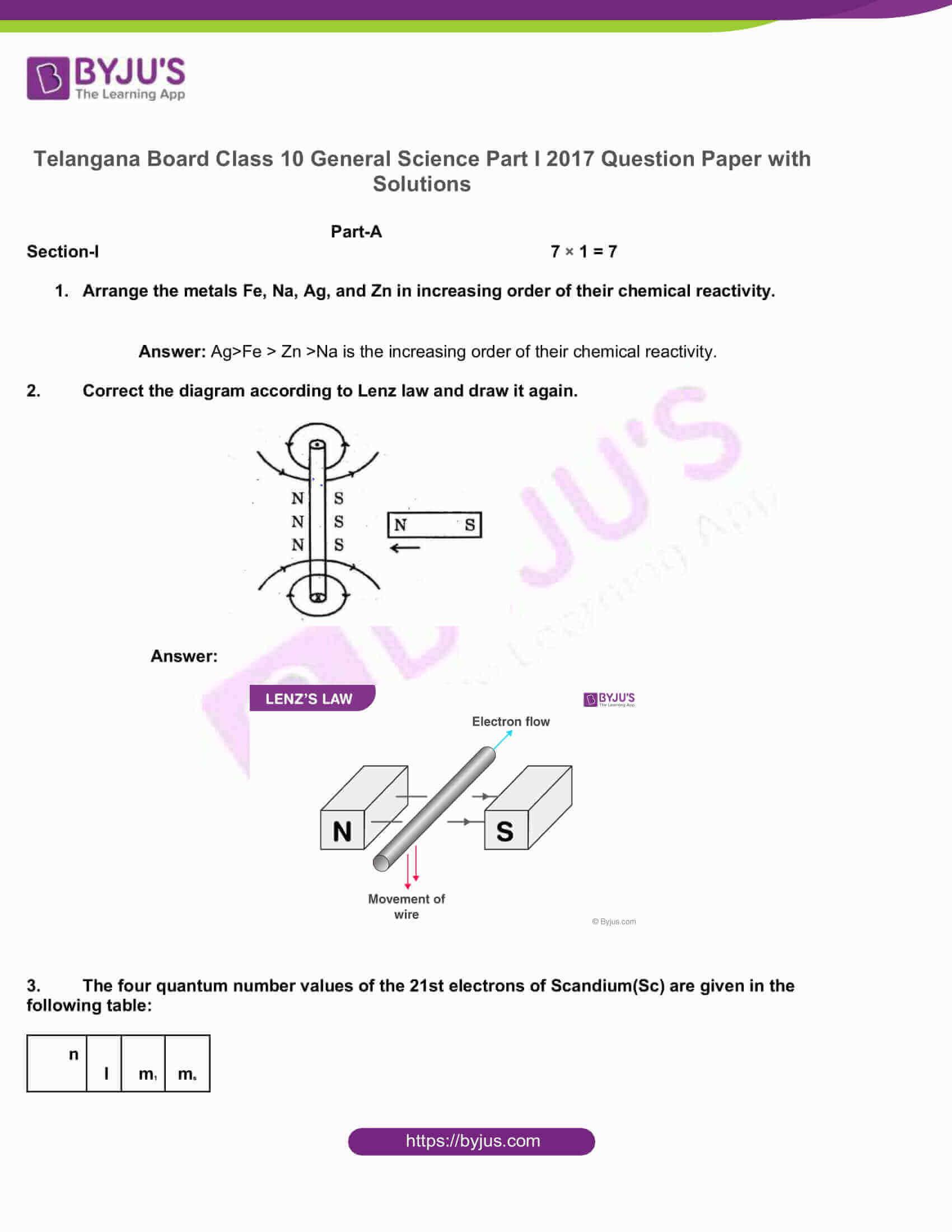 telangana board nov2020 class 10 science part i solutions 2017 1
