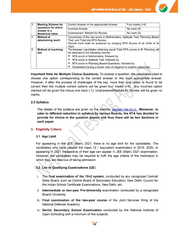 JEE Main 2021 Information Brochure 12