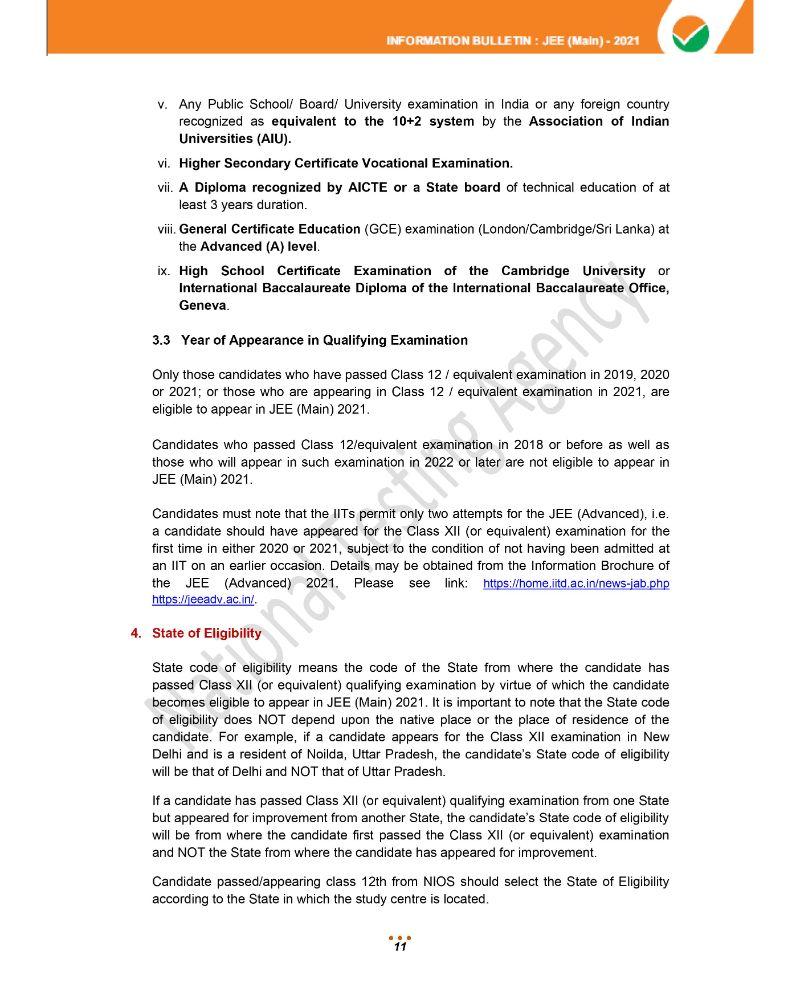 JEE Main 2021 Information Brochure 13