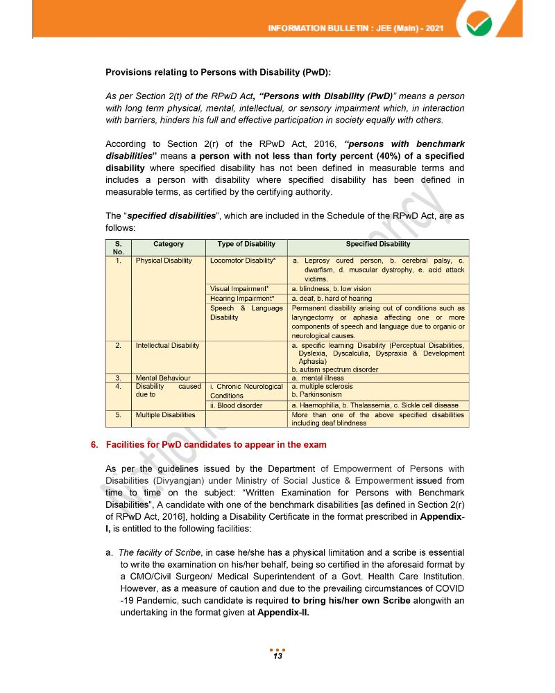 JEE Main 2021 Information Brochure 15