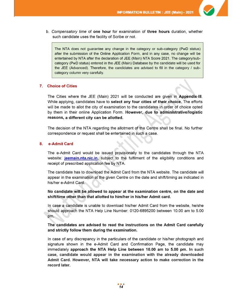 JEE Main 2021 Information Brochure 16