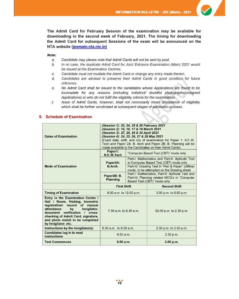 JEE Main 2021 Information Brochure 17