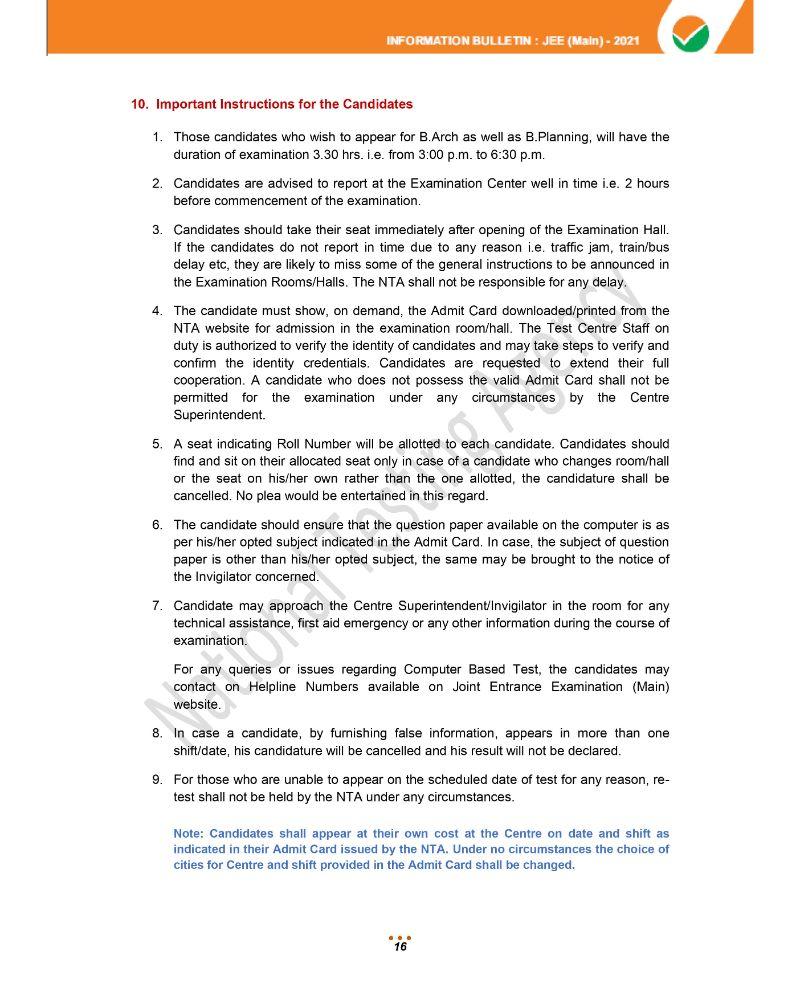 JEE Main 2021 Information Brochure 18
