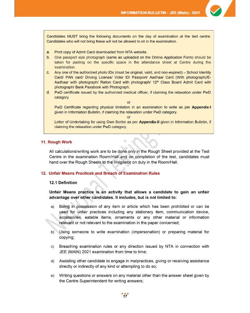 JEE Main 2021 Information Brochure 19
