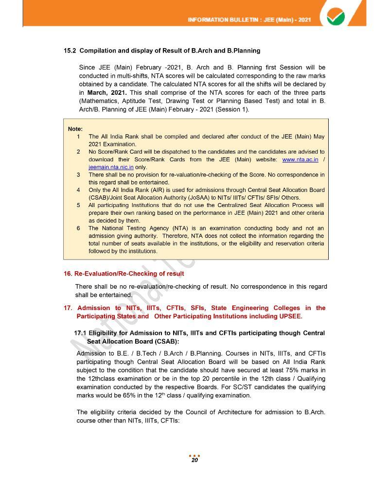 JEE Main 2021 Information Brochure 22