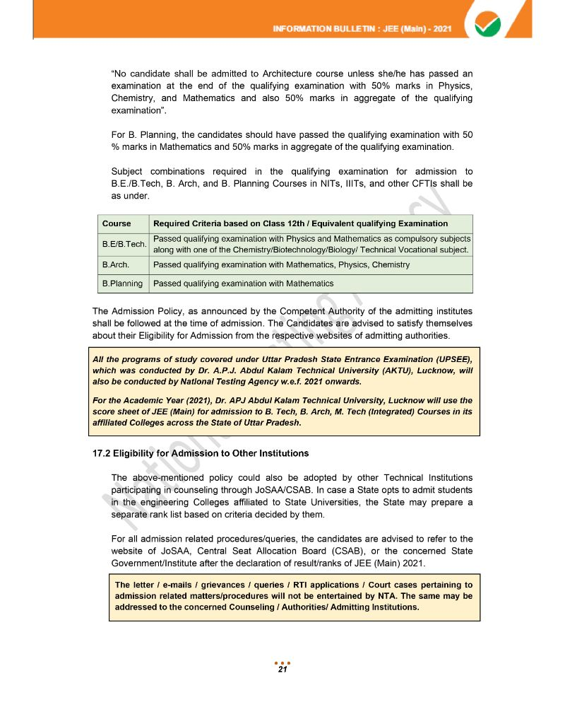 JEE Main 2021 Information Brochure 23