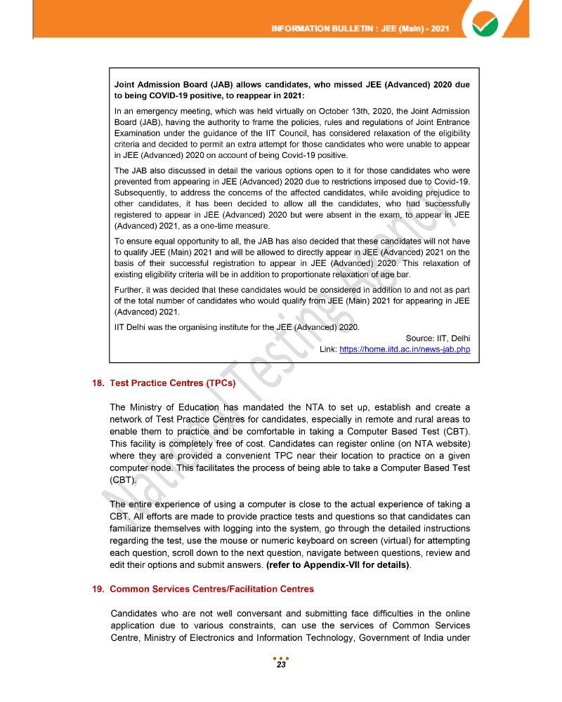 JEE Main 2021 Information Brochure 25