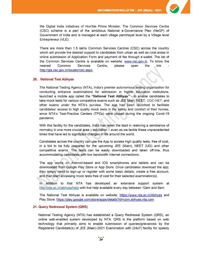 JEE Main 2021 Information Brochure 26
