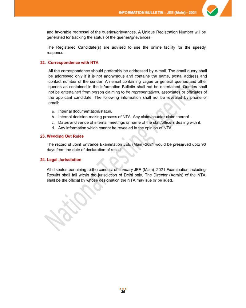JEE Main 2021 Information Brochure 27