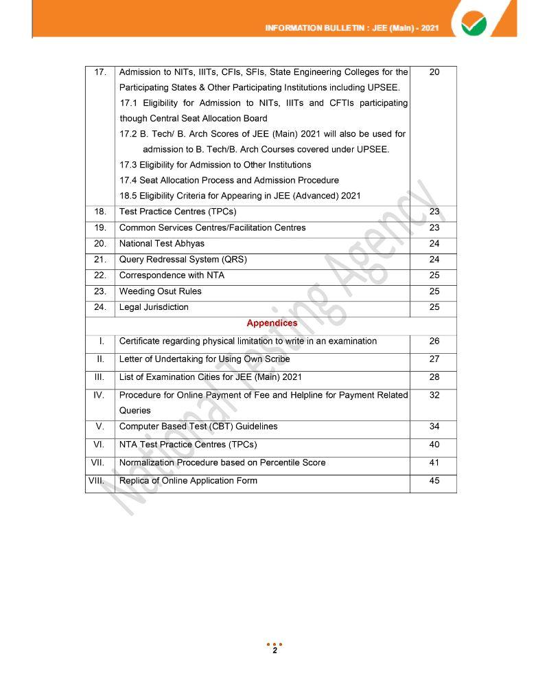 JEE Main 2021 Information Brochure 4