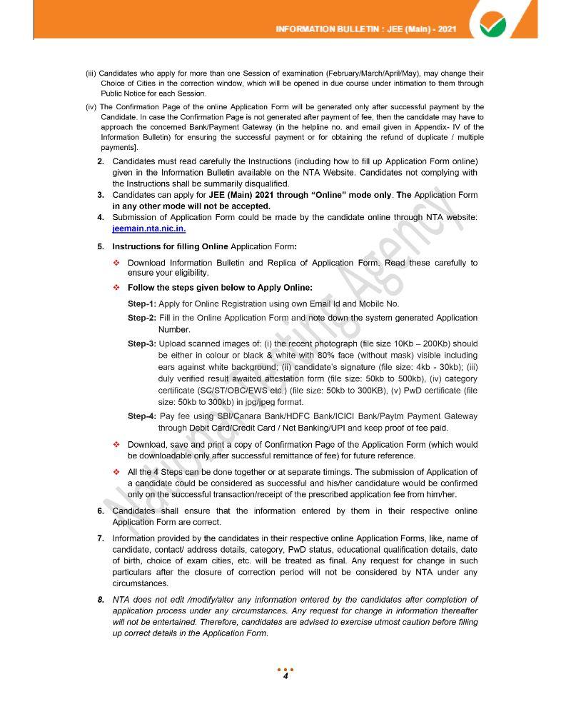 JEE Main 2021 Information Brochure 6