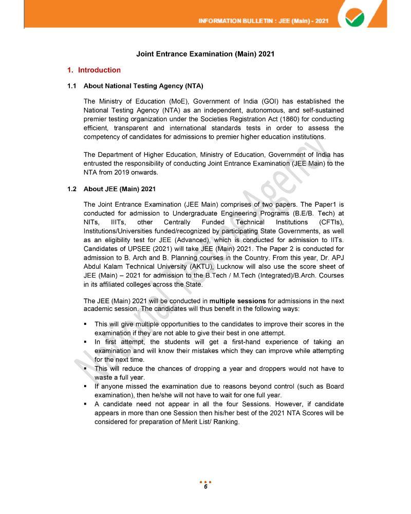 JEE Main 2021 Information Brochure 8